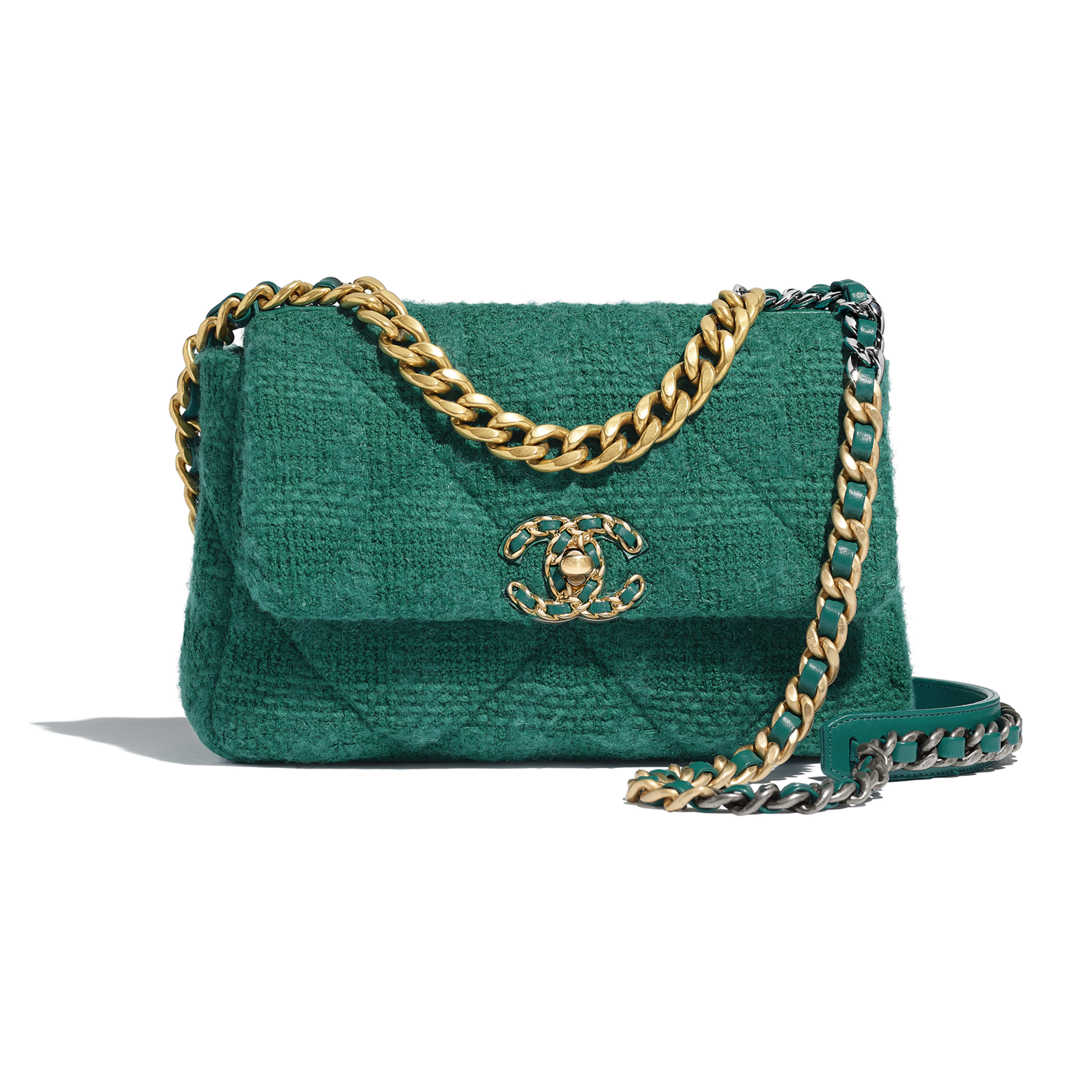 CHANEL 19 Flap Bag - Green - Wool Tweed, Gold-Tone, Silver-Tone & Ruthenium-Finish Metal - Default view - see full sized version