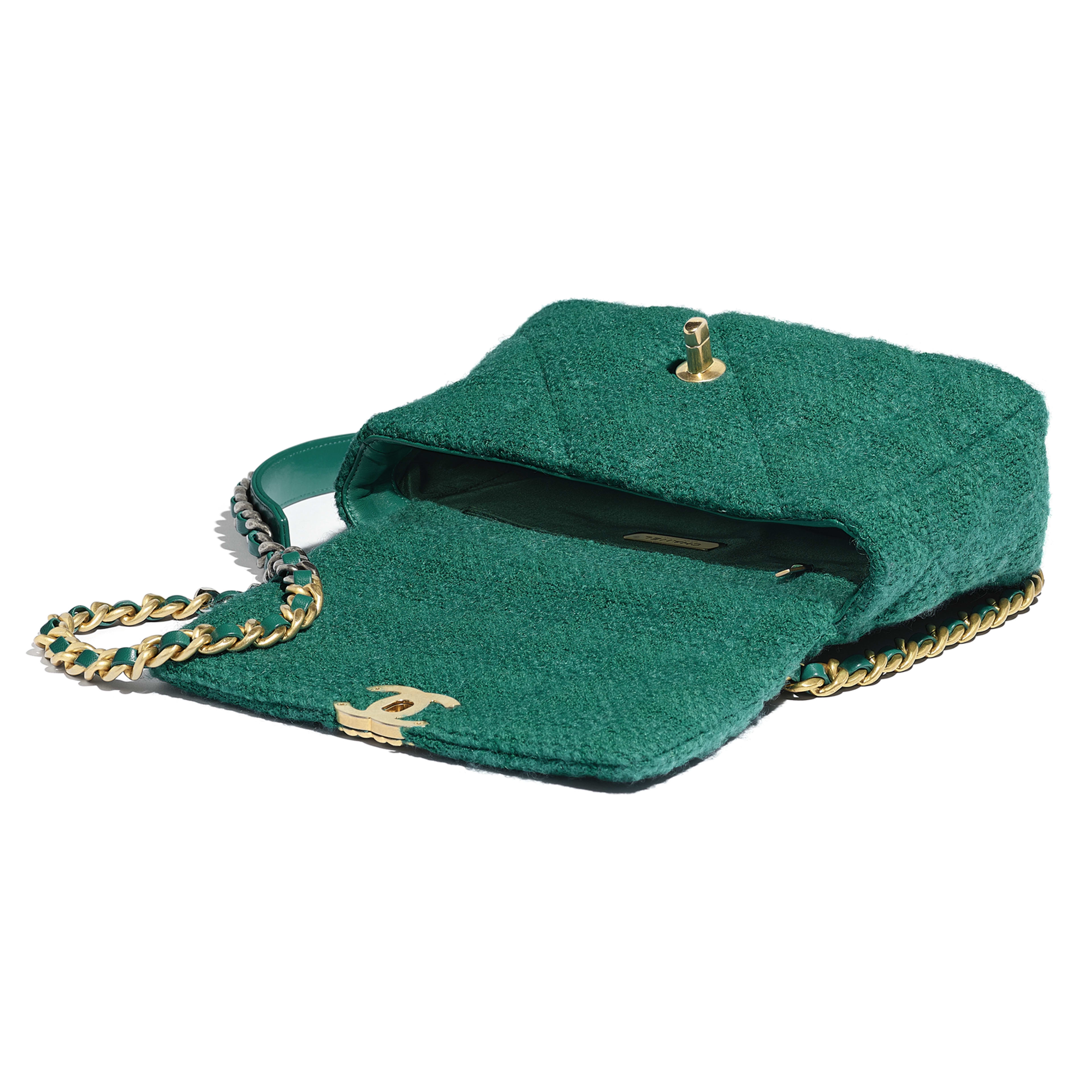 CHANEL 19 Flap Bag - Green - Wool Tweed, Gold-Tone, Silver-Tone & Ruthenium-Finish Metal - Other view - see full sized version