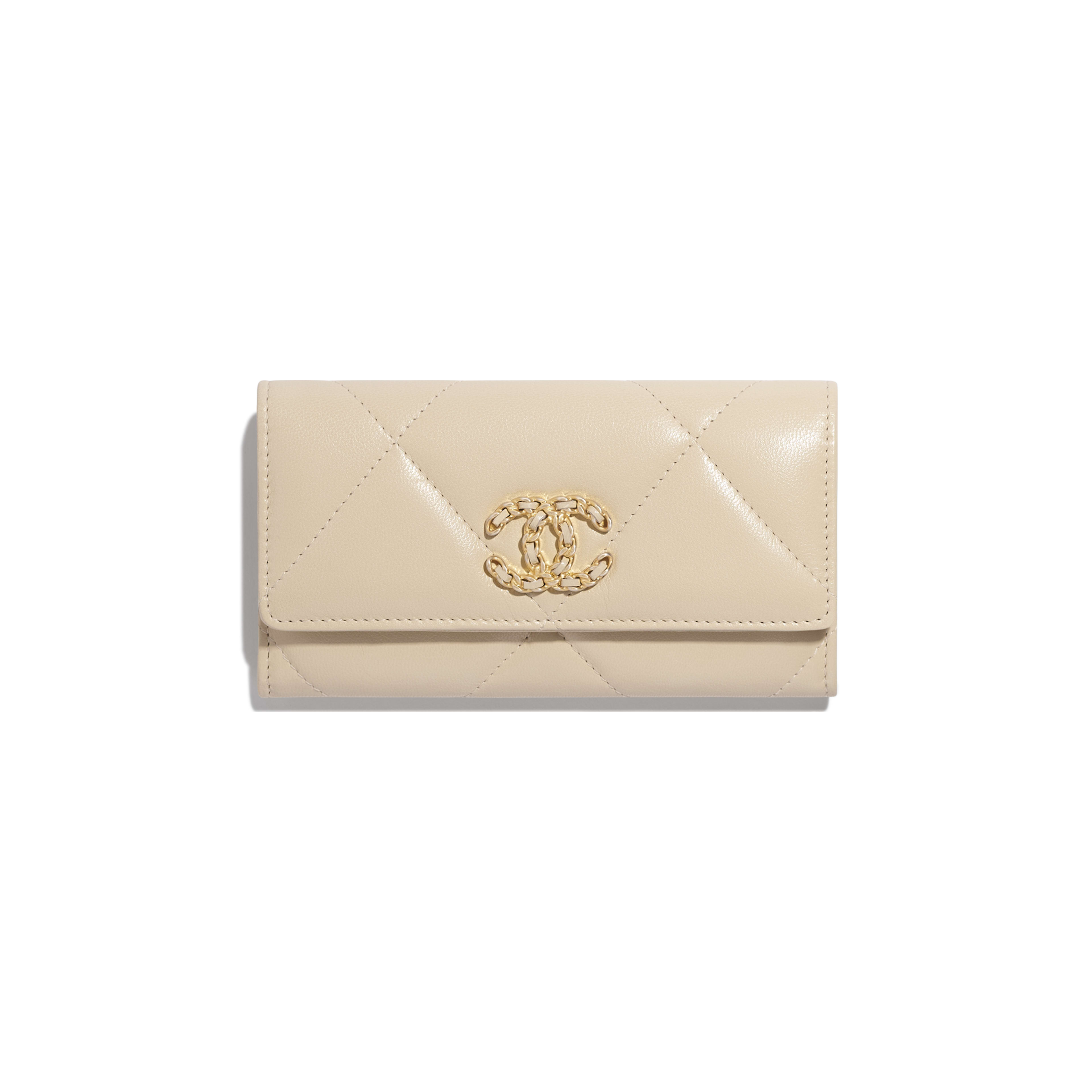 CHANEL 19 Flap Wallet - Beige - Goatskin, Gold-Tone, Silver-Tone & Ruthenium-Finish Metal - Default view - see full sized version