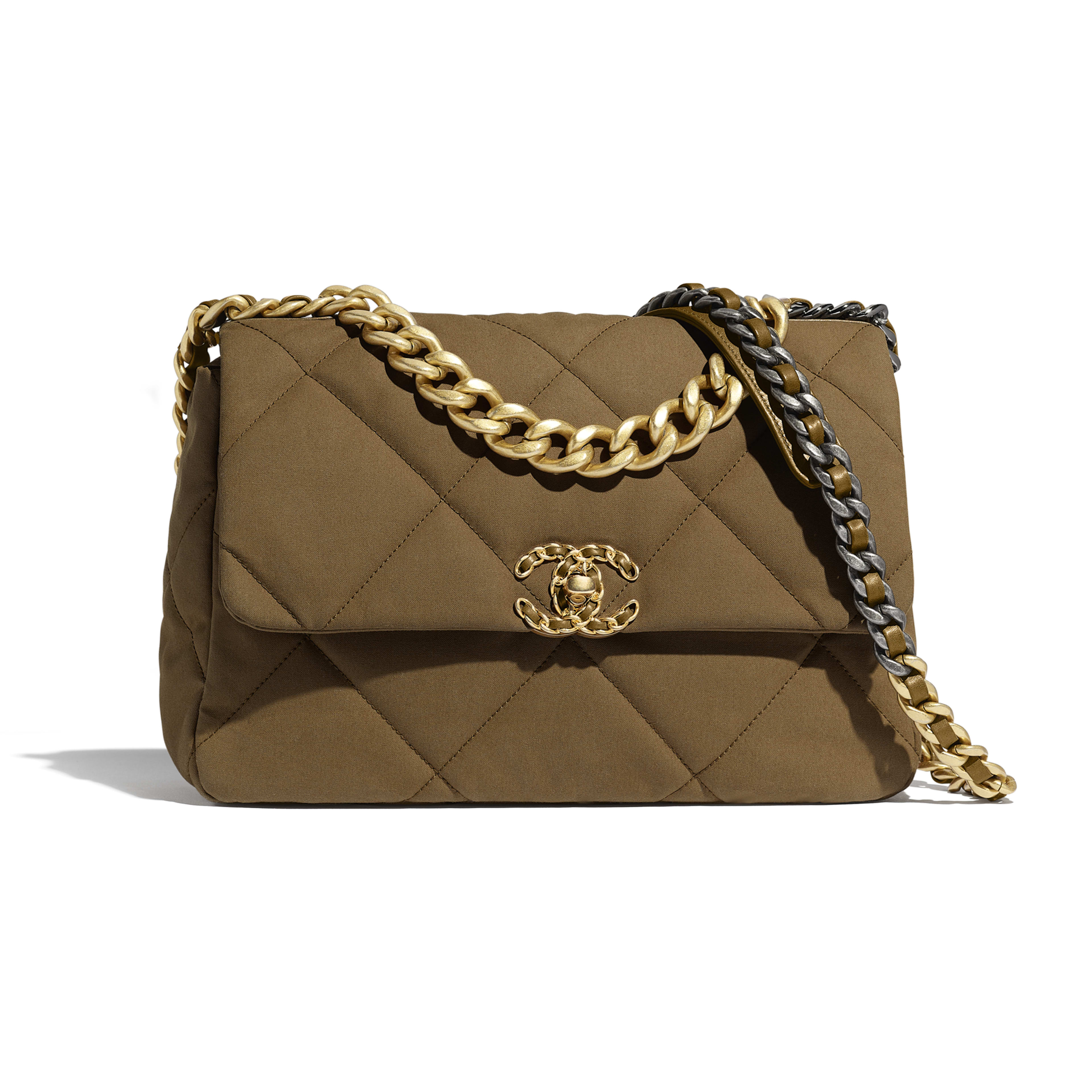 CHANEL 19 Large Flap Bag - Bronze - Cotton Canvas, Calfskin, Gold-Tone, Silver-Tone & Ruthenium-Finish Metal - Default view - see full sized version