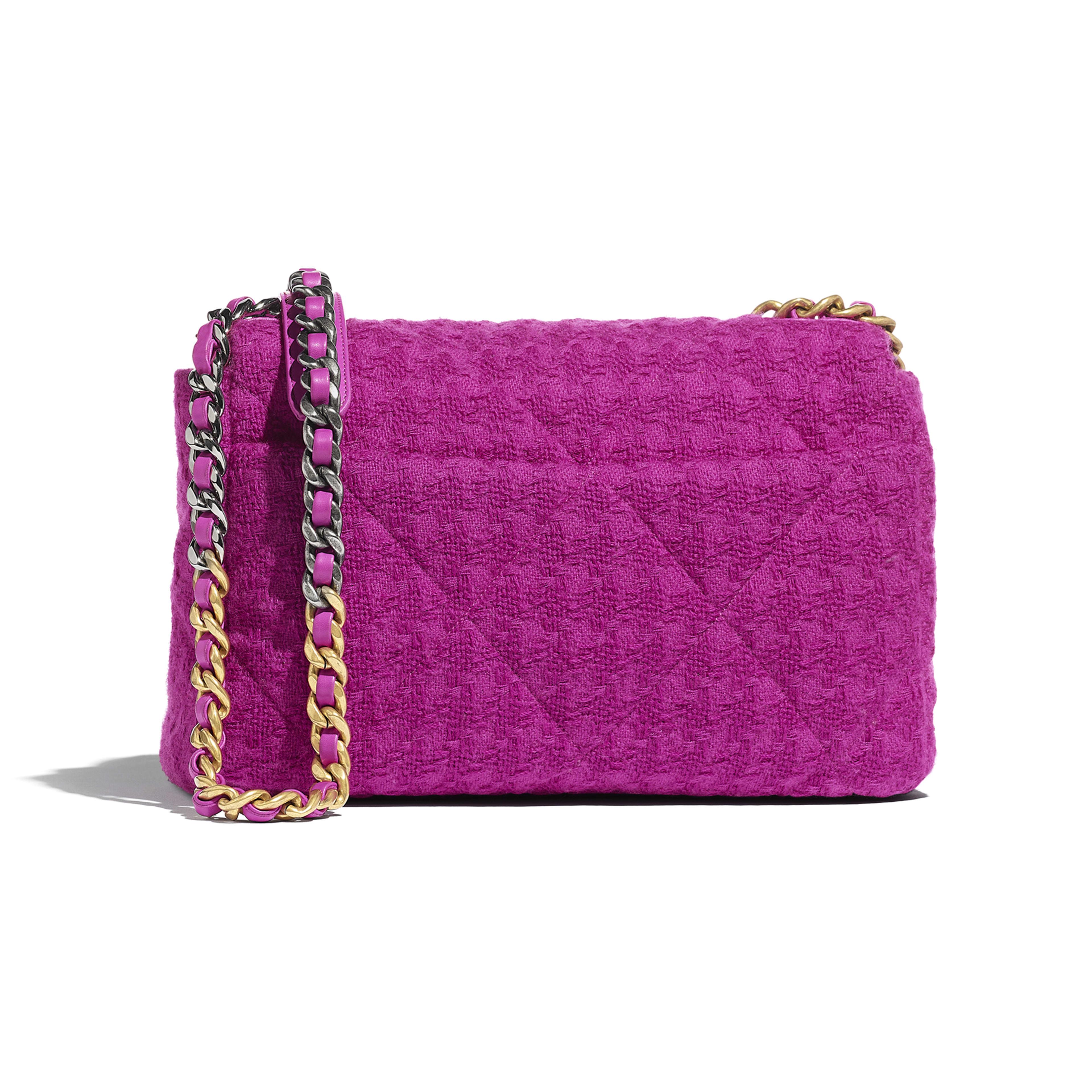 กระเป๋าสะพายใบใหญ่ CHANEL 19 - สีชมพูฟูเชีย - ผ้าทวีตขนสัตว์ โลหะสีทอง โลหะสีเงิน และโลหะเคลือบรูทีเนียม - มุมมองทางอื่น - ดูเวอร์ชันขนาดเต็ม