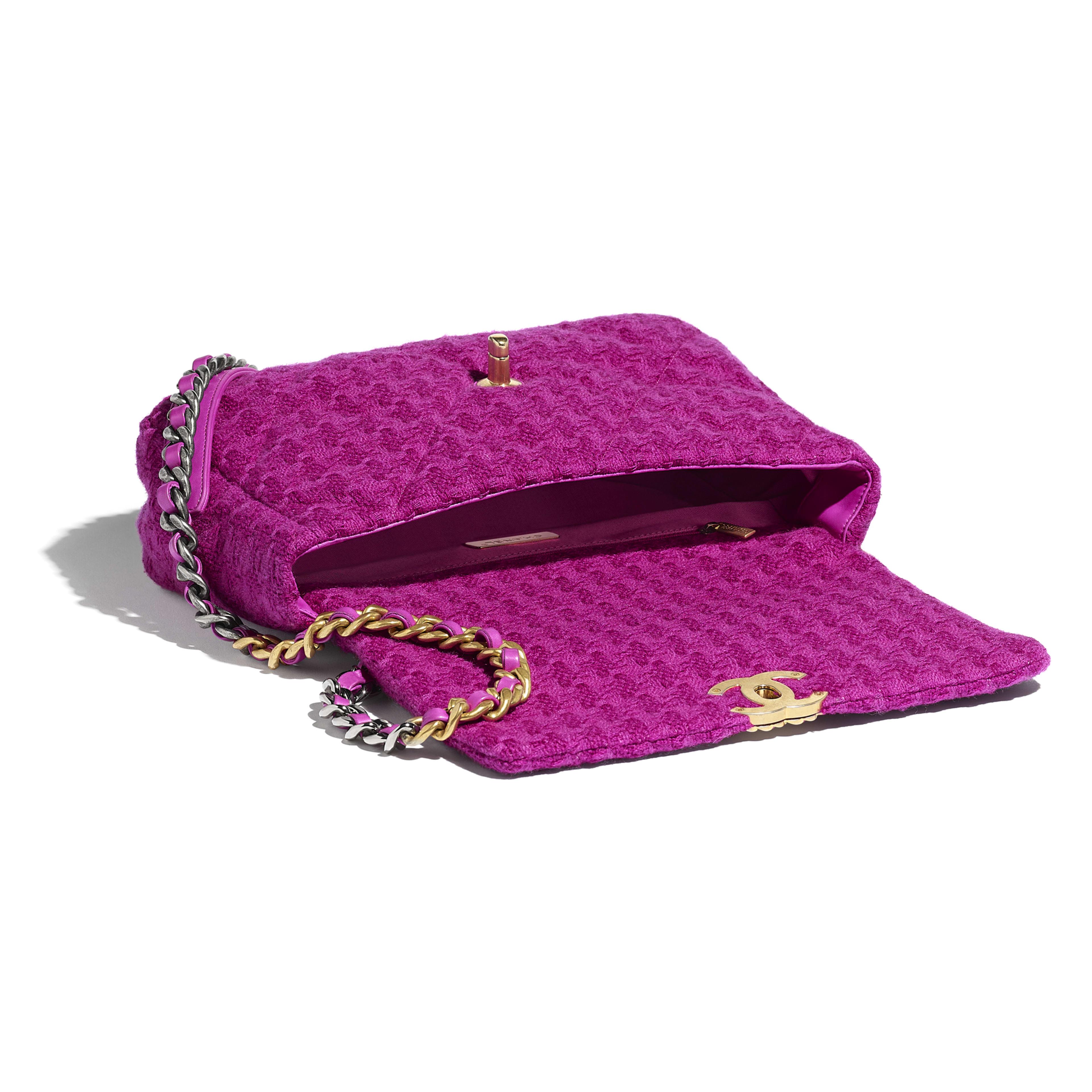 กระเป๋าสะพายใบใหญ่ CHANEL 19 - สีชมพูฟูเชีย - ผ้าทวีตขนสัตว์ โลหะสีทอง โลหะสีเงิน และโลหะเคลือบรูทีเนียม - มุมมองอื่น - ดูเวอร์ชันขนาดเต็ม