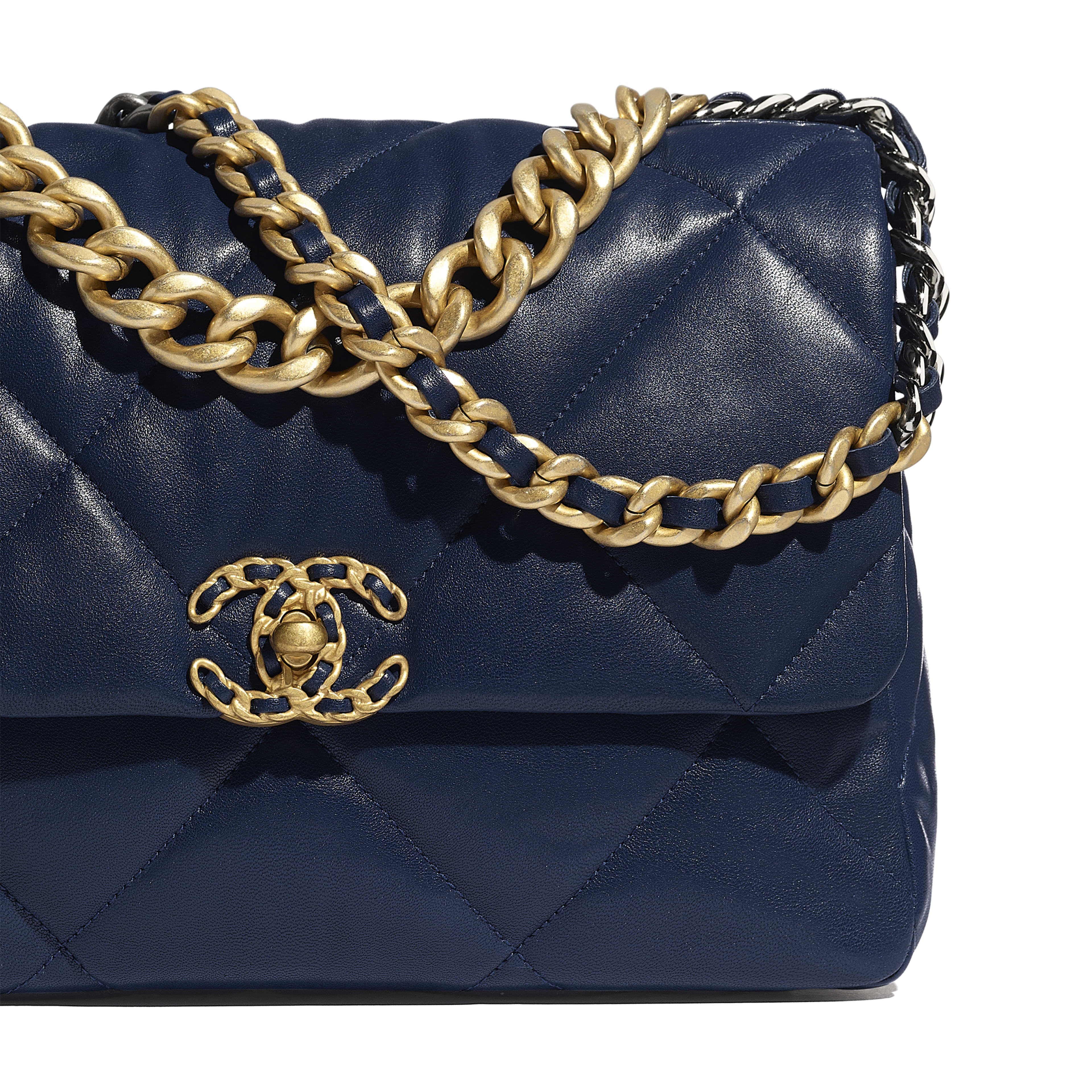 CHANEL 19 Large Flap Bag - Navy Blue - Lambskin, Gold-Tone, Silver-Tone & Ruthenium-Finish Metal - Extra view - see full sized version