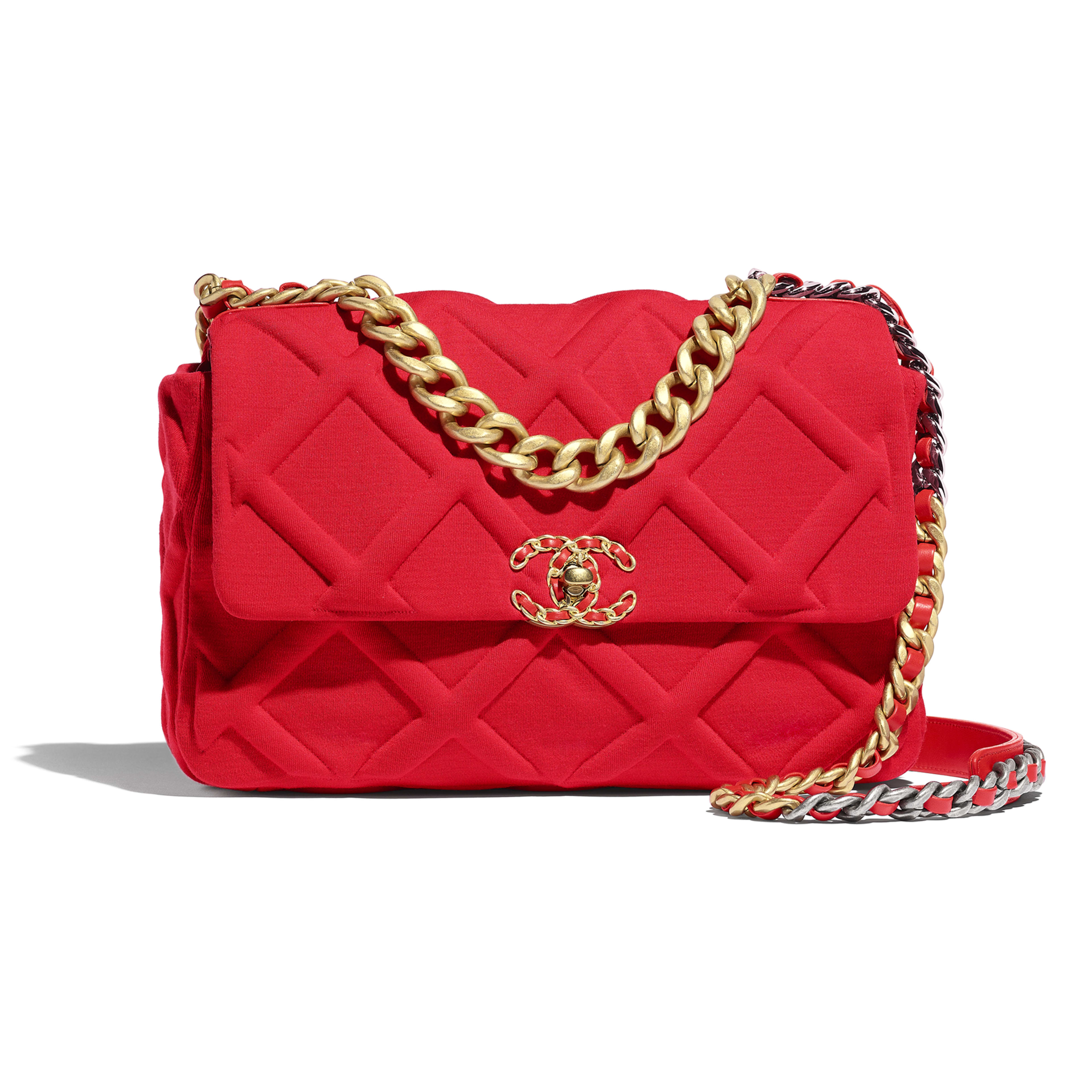 CHANEL 19 Large Flap Bag - Red - Jersey, Gold-Tone, Silver-Tone & Ruthenium-Finish Metal - Default view - see full sized version