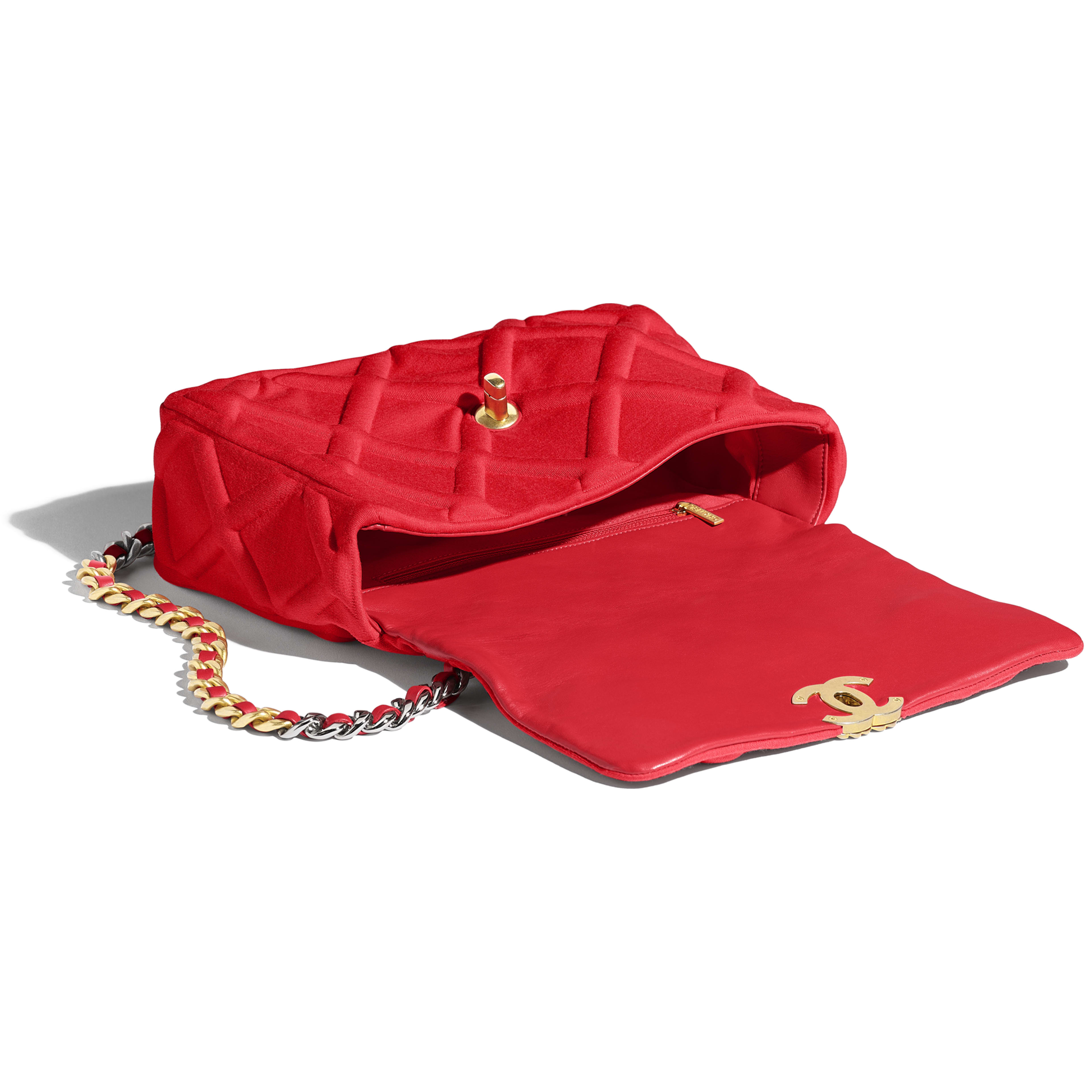CHANEL 19 Large Flap Bag - Red - Jersey, Gold-Tone, Silver-Tone & Ruthenium-Finish Metal - Other view - see full sized version