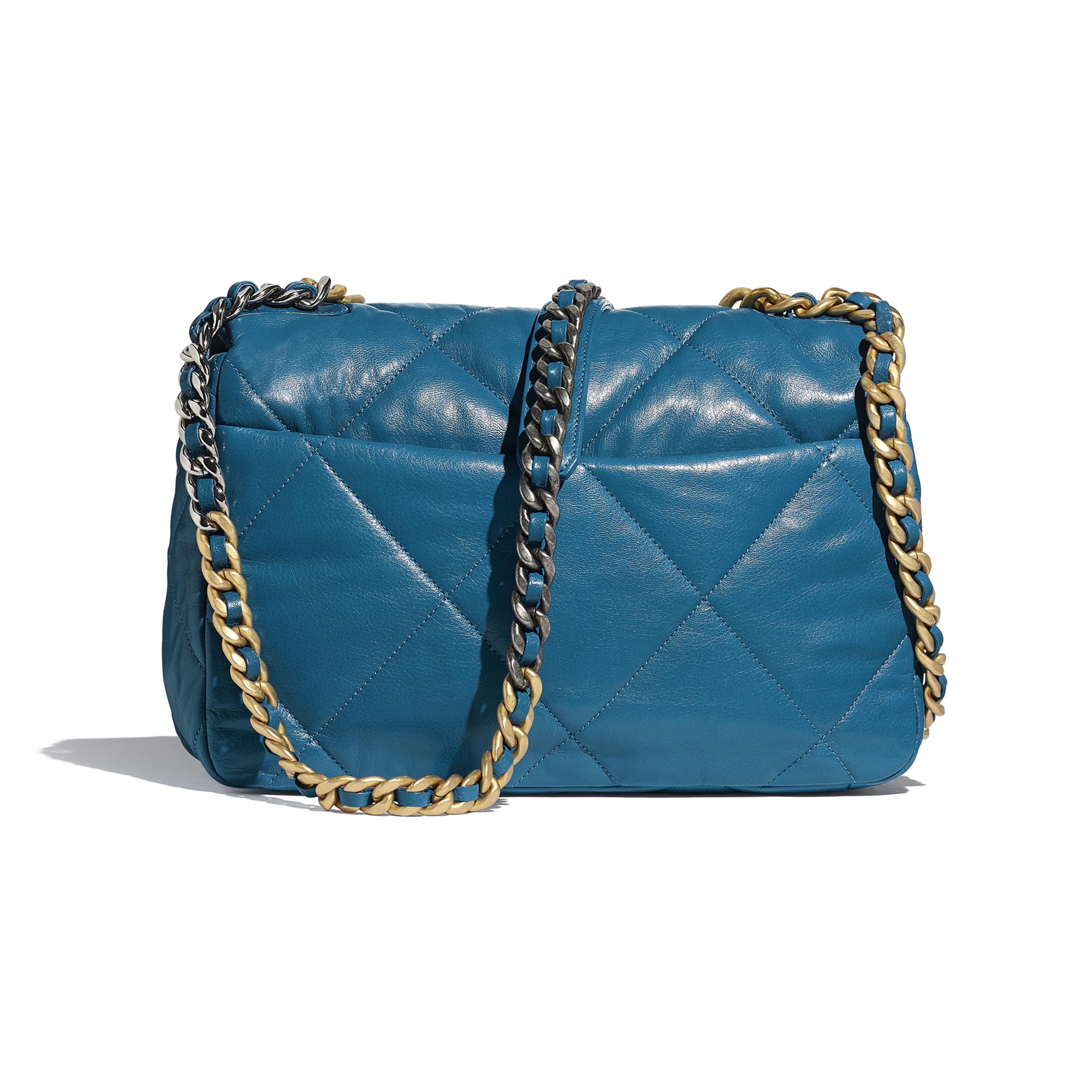 CHANEL 19 Large Flap Bag - Turquoise - Goatskin, Gold-Tone, Silver-Tone & Ruthenium-Finish Metal - Alternative view - see full sized version