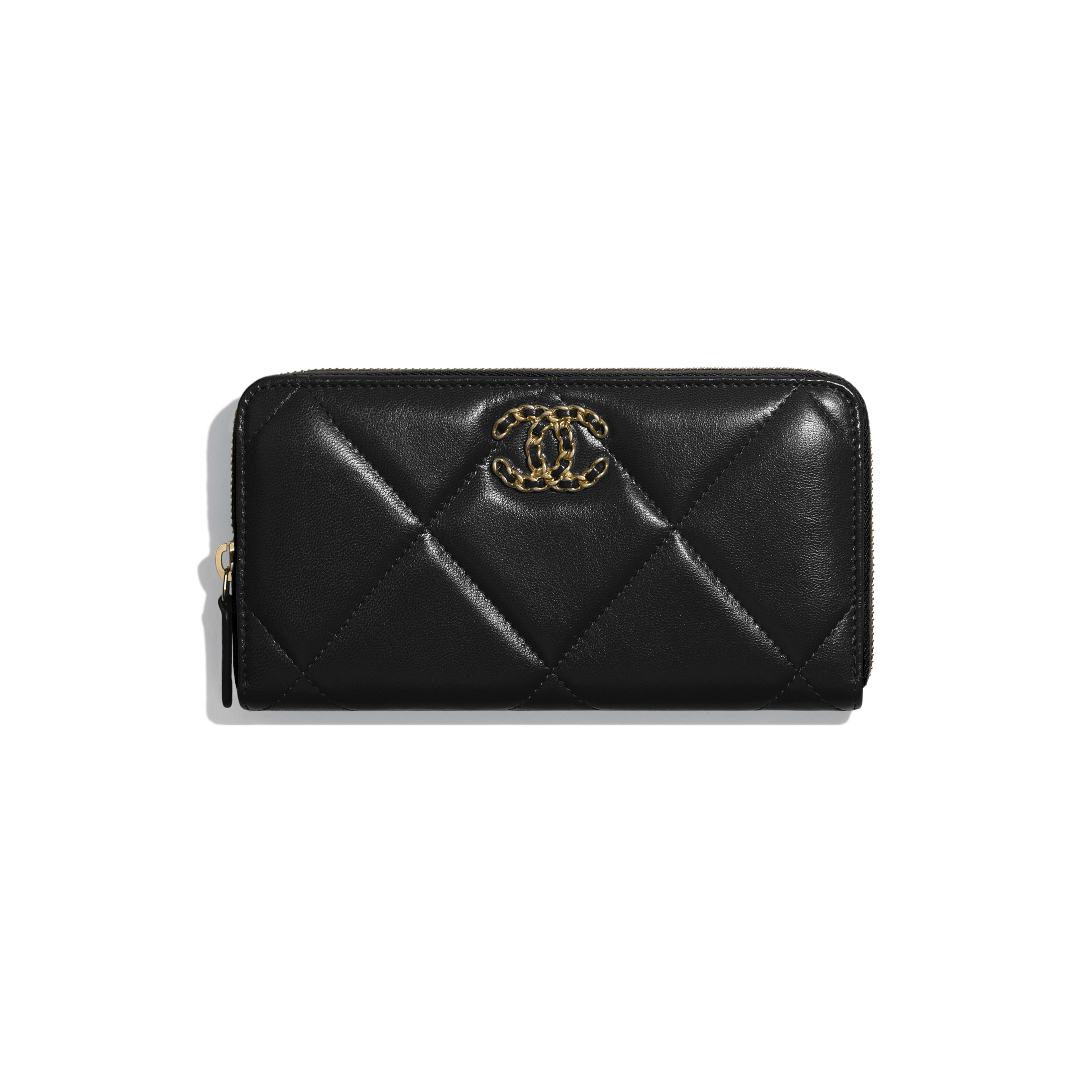 CHANEL 19 Long Zipped Wallet - Black - Goatskin, Gold-Tone, Silver-Tone & Ruthenium-Finish Metal - Default view - see full sized version