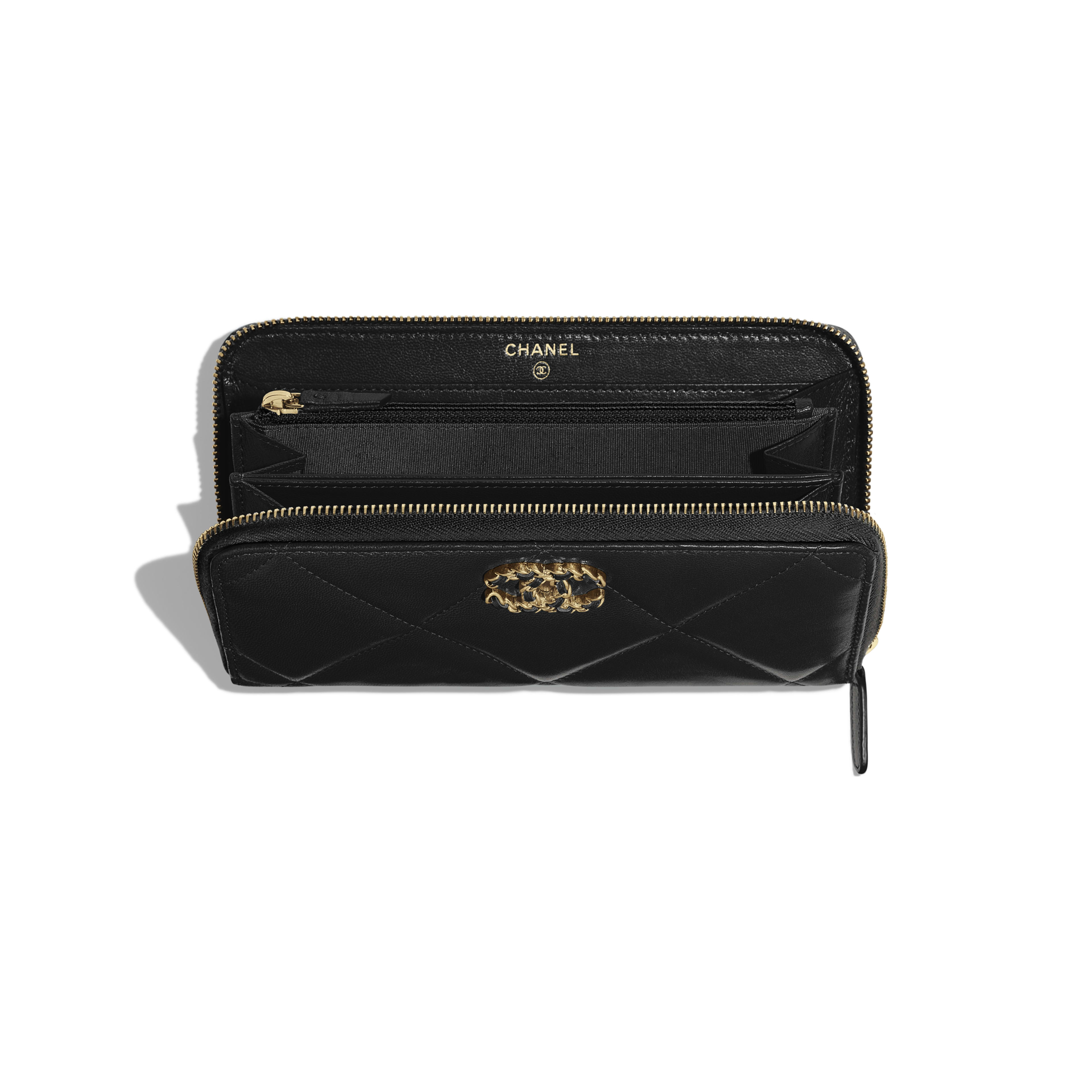 CHANEL 19 Long Zipped Wallet - Black - Goatskin, Gold-Tone, Silver-Tone & Ruthenium-Finish Metal - Other view - see full sized version