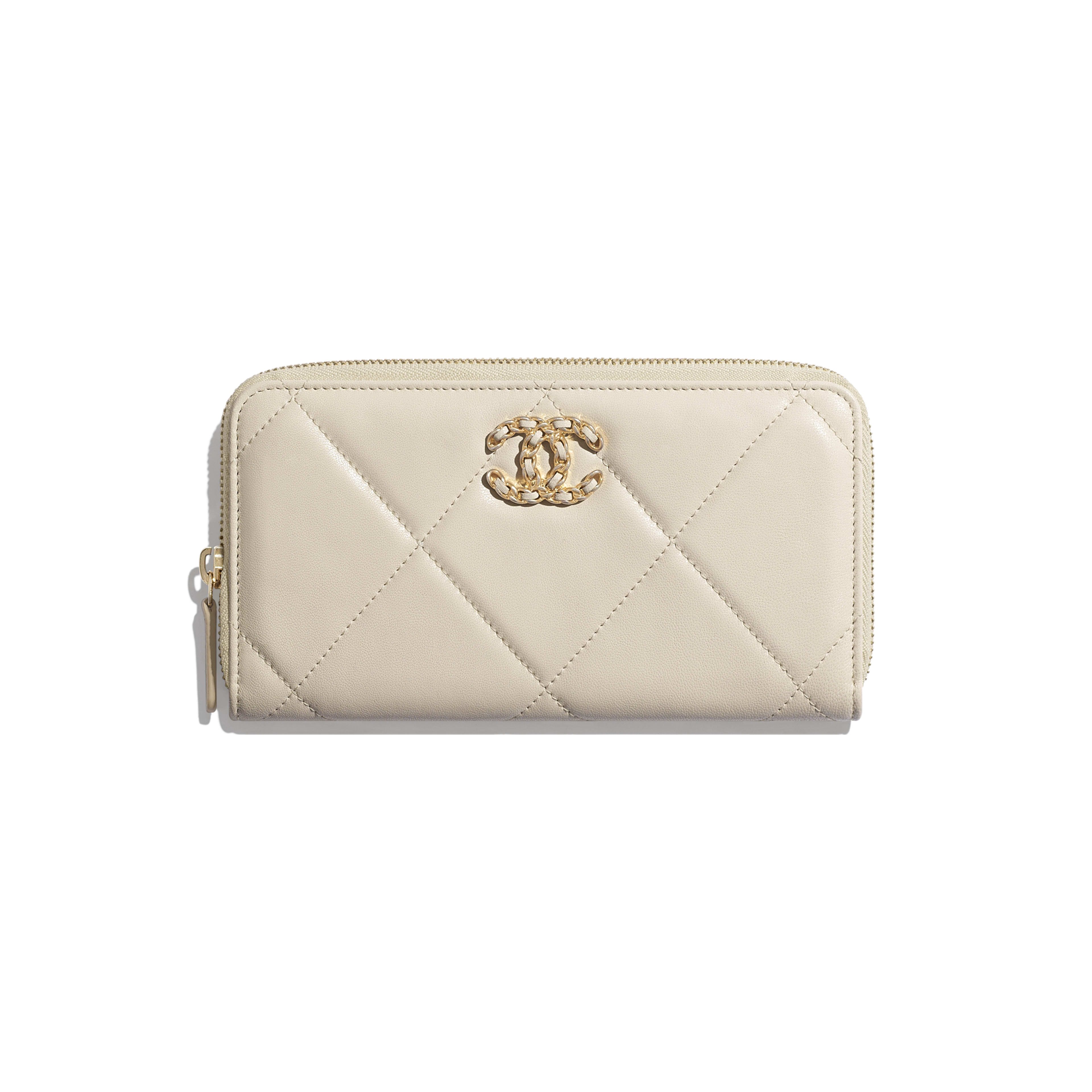 CHANEL 19 Long Zipped Wallet - Light Beige - Lambskin, Gold-Tone, Silver-Tone & Ruthenium-Finish Metal - Default view - see full sized version