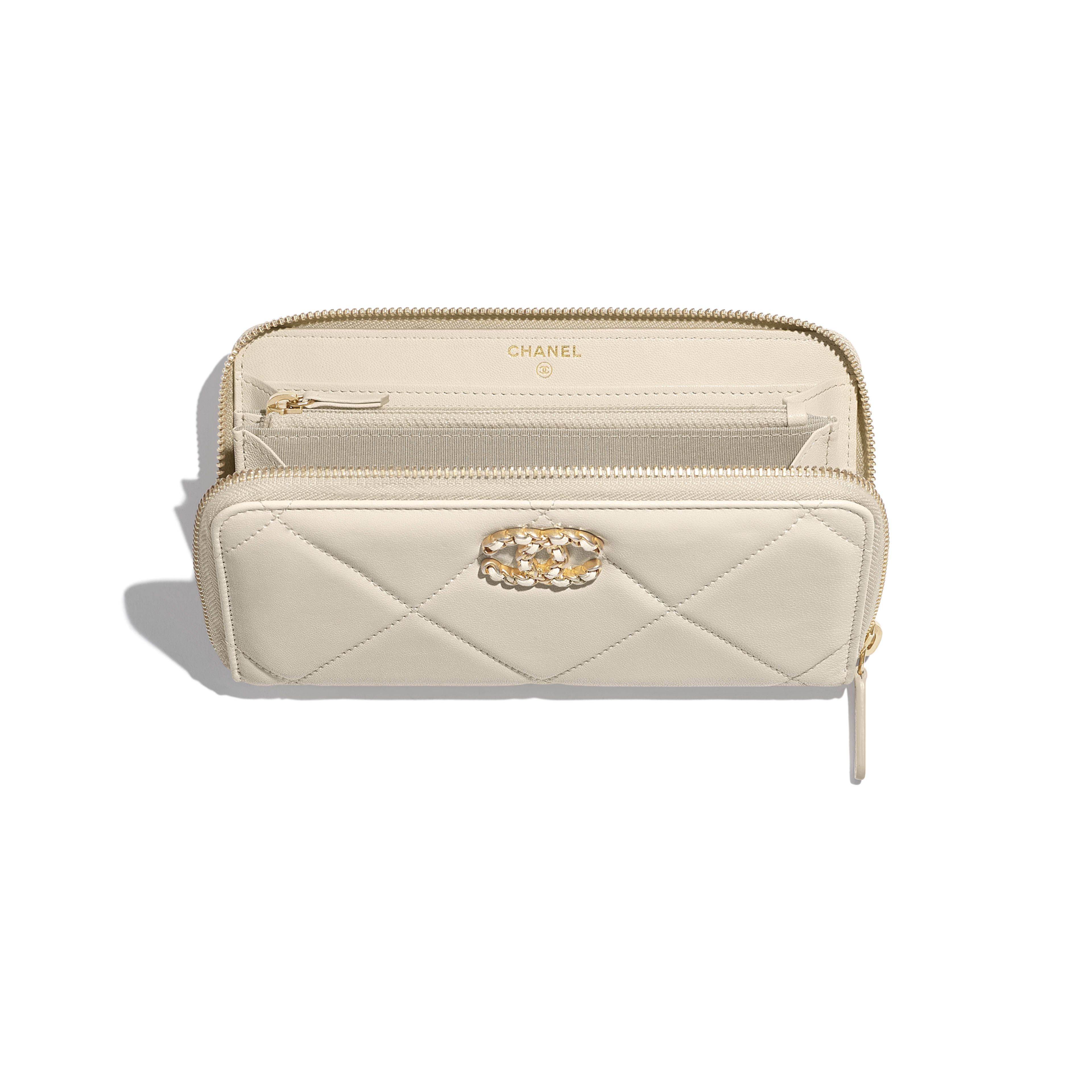 CHANEL 19 Long Zipped Wallet - Light Beige - Lambskin, Gold-Tone, Silver-Tone & Ruthenium-Finish Metal - Other view - see full sized version