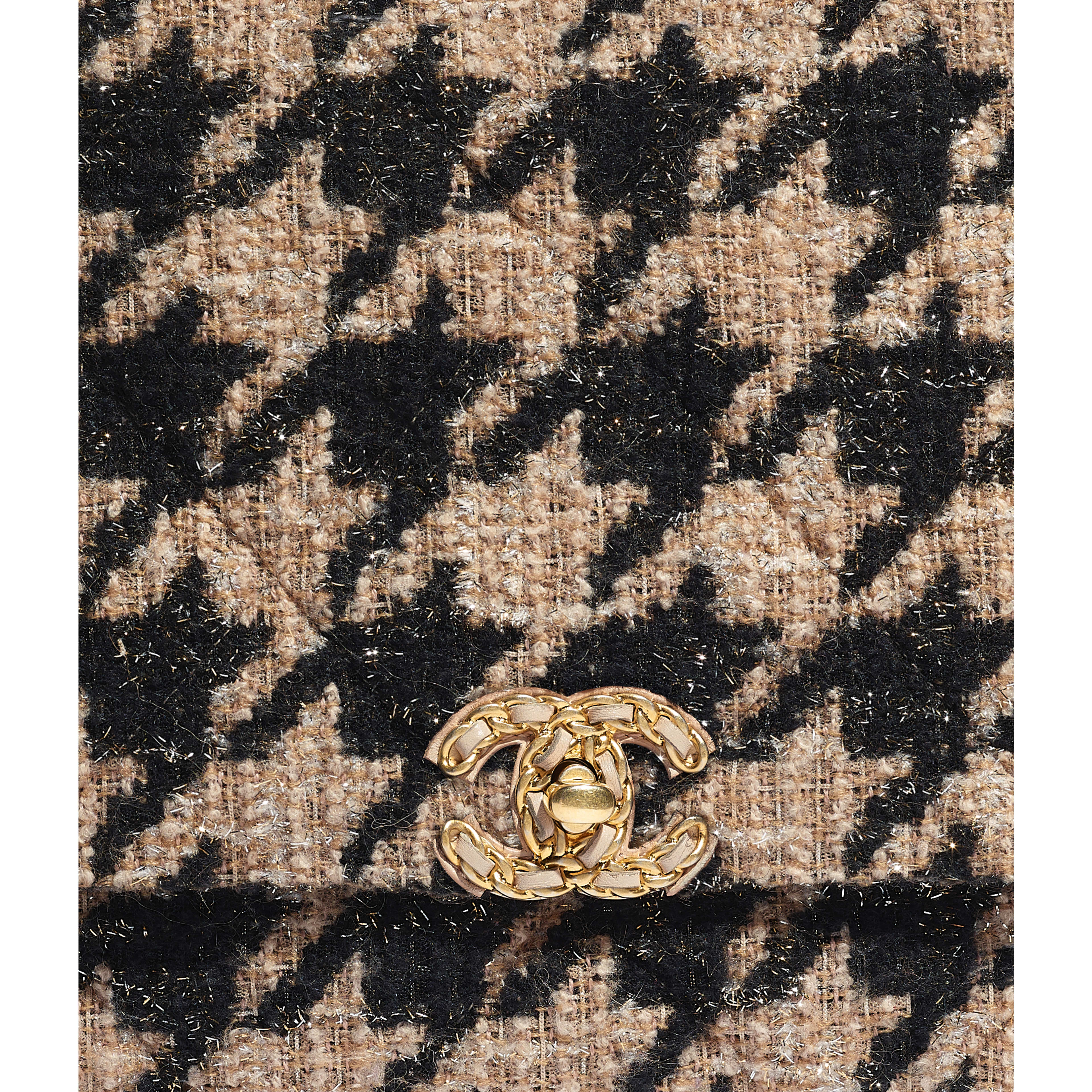 CHANEL 19 Maxi Flap Bag - Beige & Black - Tweed, Gold-Tone, Silver-Tone & Ruthenium-Finish Metal - Extra view - see full sized version