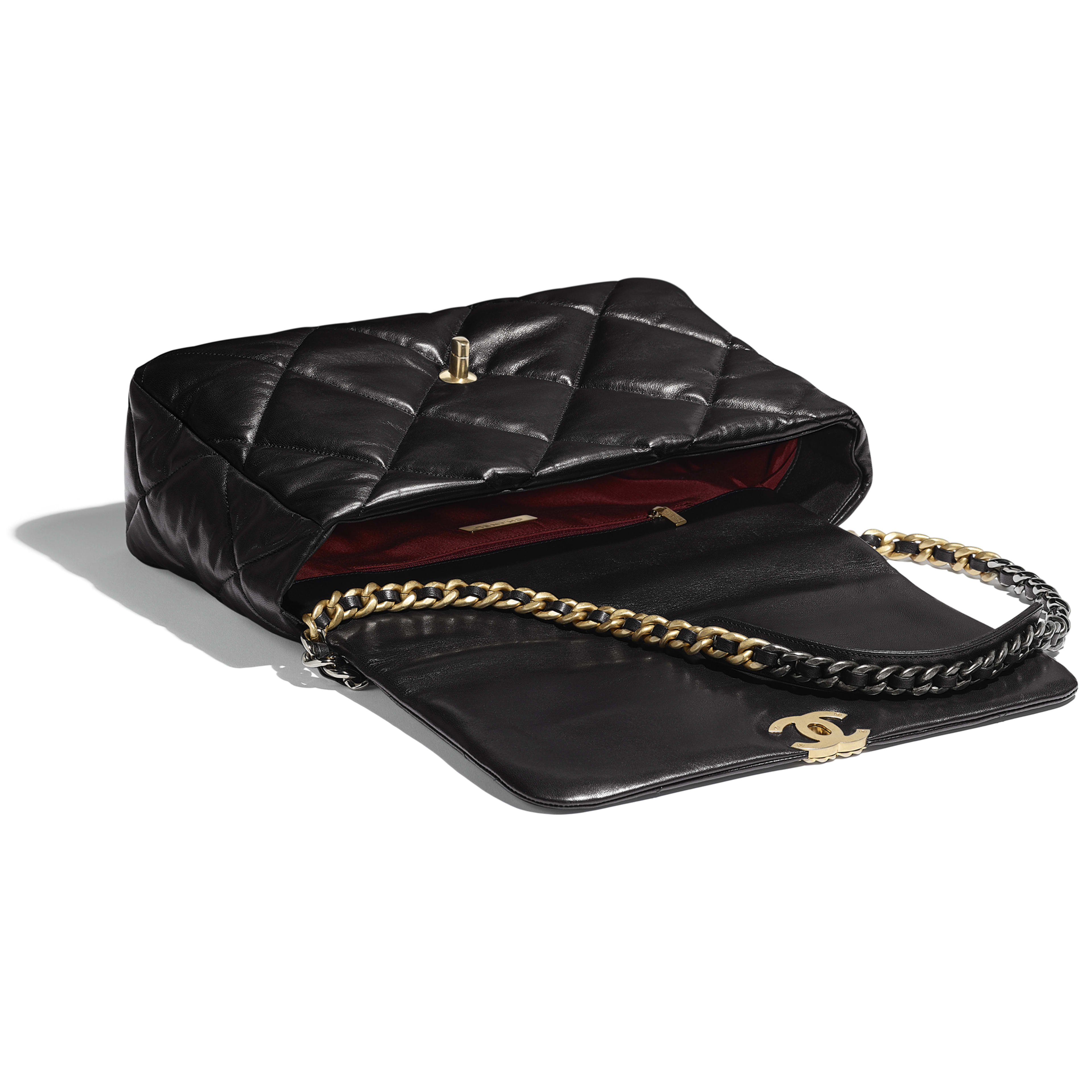 CHANEL 19 Maxi Flap Bag - Black - Goatskin, Gold-Tone, Silver-Tone & Ruthenium-Finish Metal - Other view - see full sized version