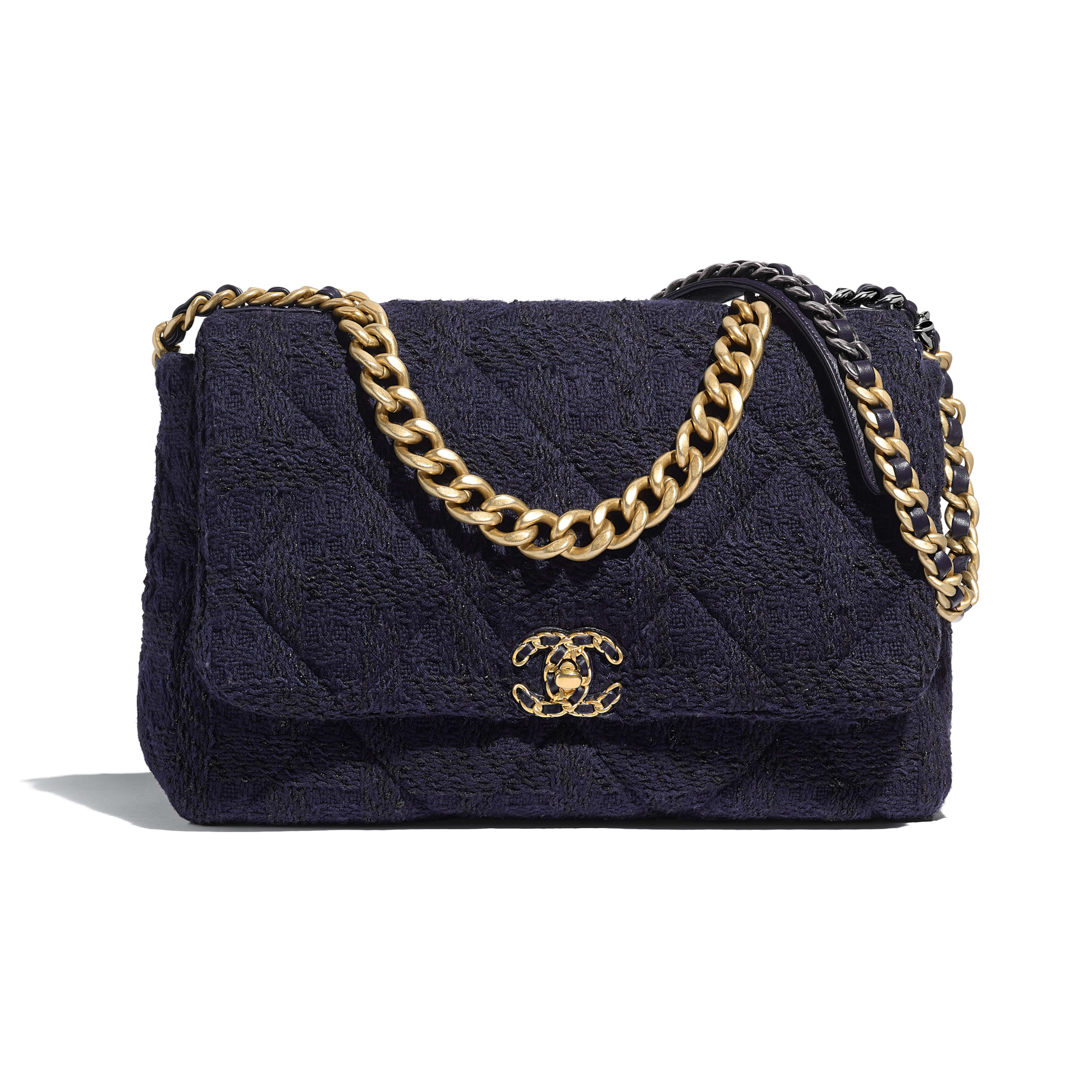 CHANEL 19 Maxi Flap Bag - Navy Blue & Black - Wool Tweed, Gold-Tone, Silver-Tone & Ruthenium-Finish Metal - Default view - see full sized version