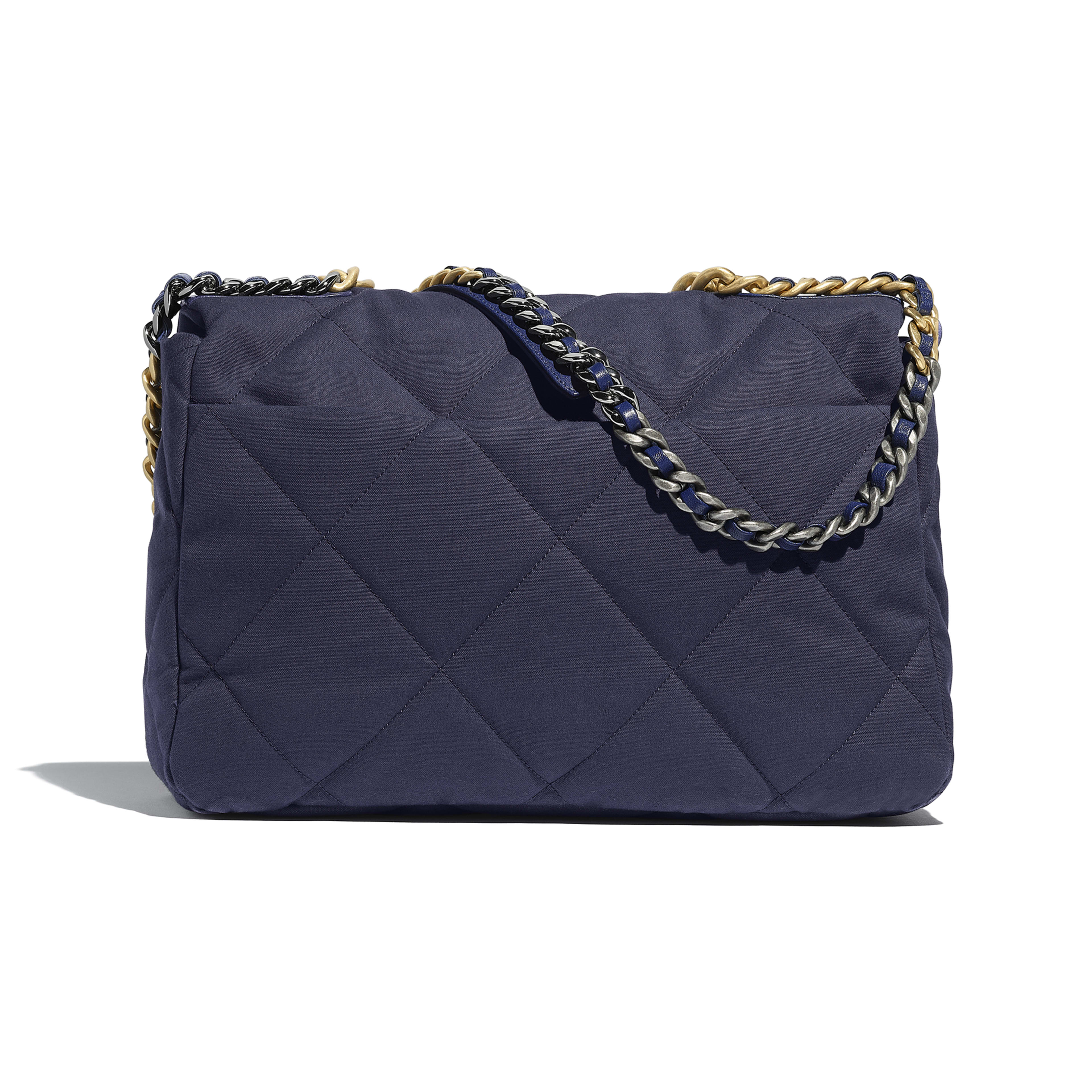 CHANEL 19 Maxi Flap Bag - Navy Blue - Cotton Canvas, Calfskin, Gold-Tone, Silver-Tone & Ruthenium-Finish Metal - Alternative view - see full sized version