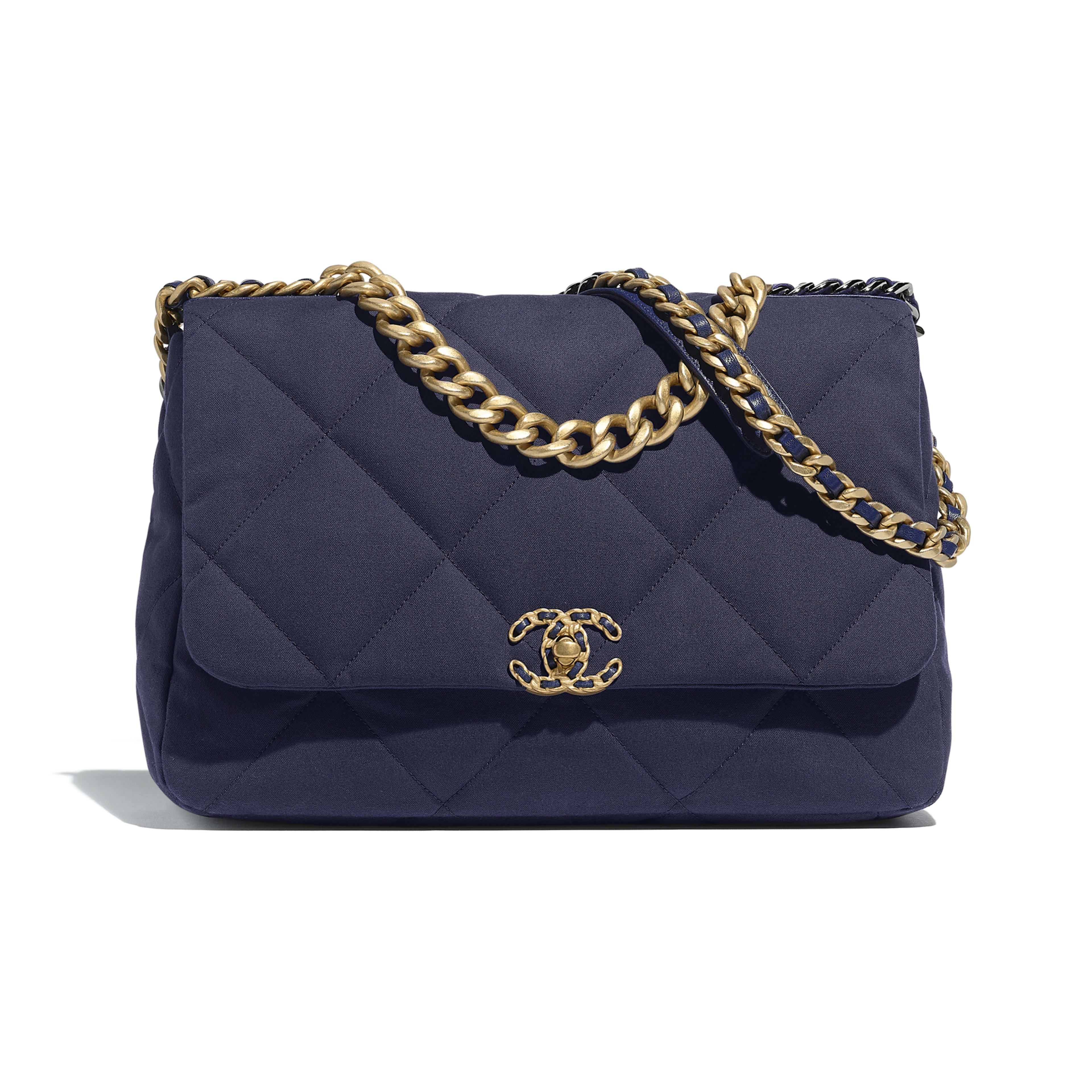 CHANEL 19 Maxi Flap Bag - Navy Blue - Cotton Canvas, Calfskin, Gold-Tone, Silver-Tone & Ruthenium-Finish Metal - Default view - see full sized version