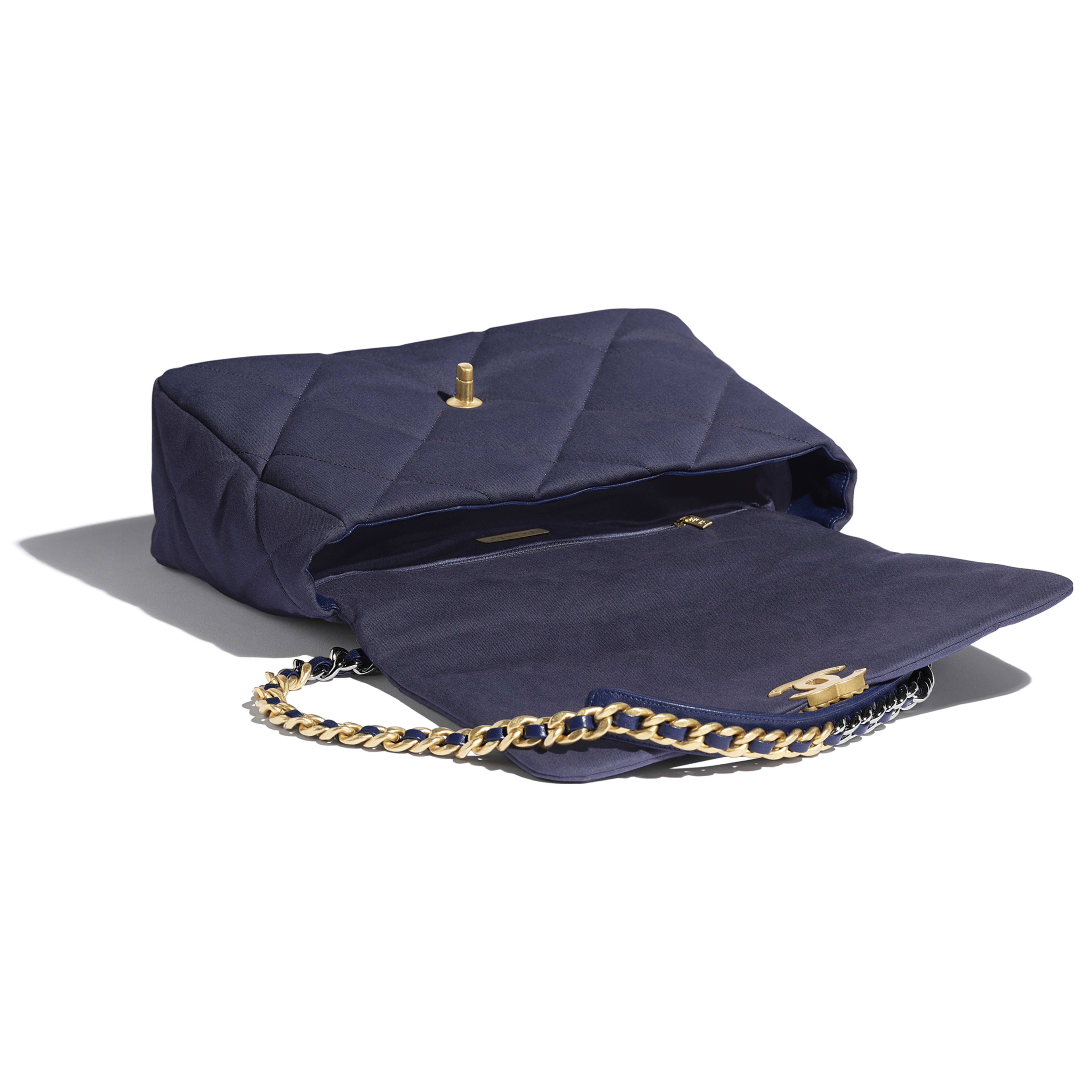 CHANEL 19 Maxi Flap Bag - Navy Blue - Cotton Canvas, Calfskin, Gold-Tone, Silver-Tone & Ruthenium-Finish Metal - Other view - see full sized version