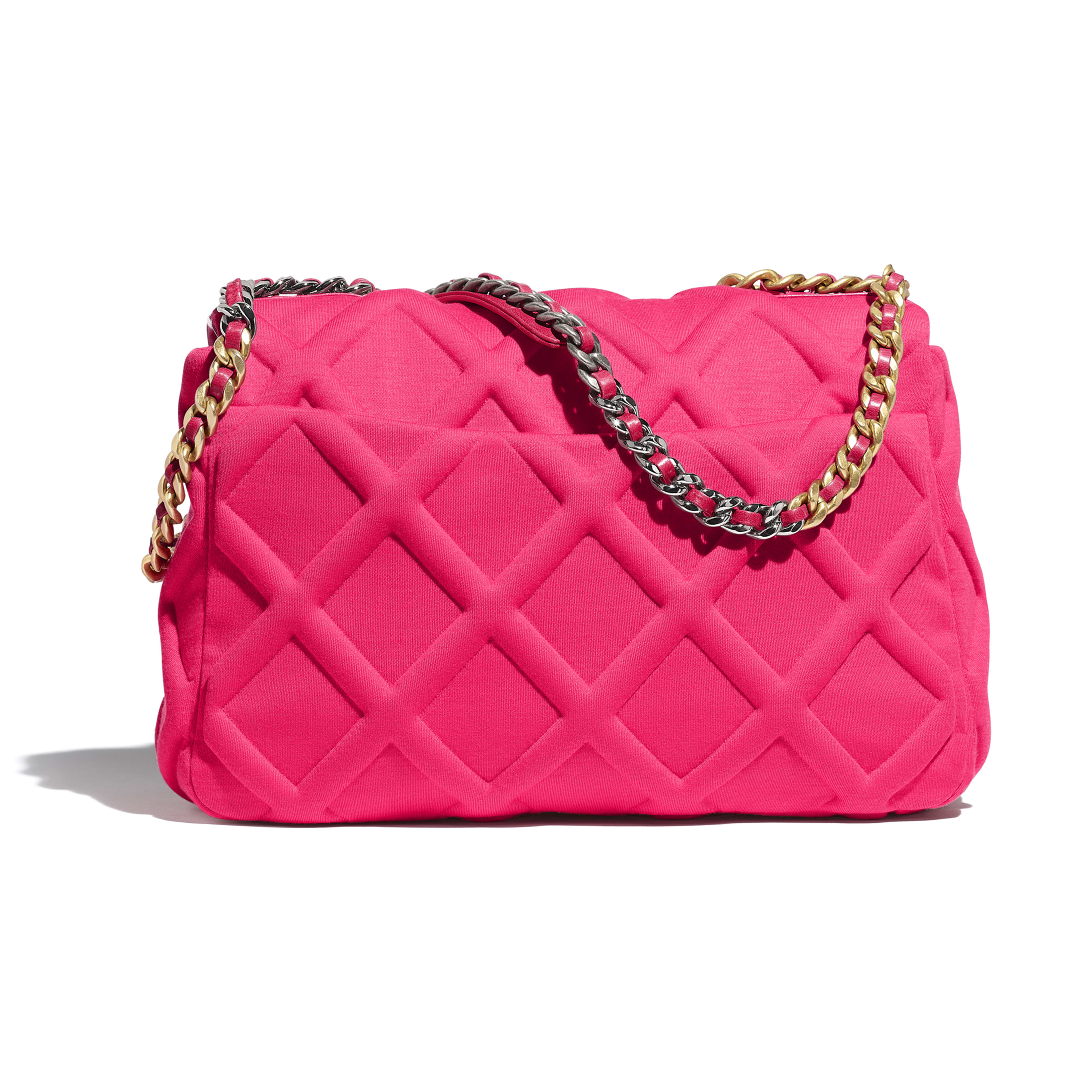 CHANEL 19 Maxi Flap Bag - Pink - Jersey, Gold-Tone, Silver-Tone & Ruthenium-Finish Metal - Alternative view - see full sized version