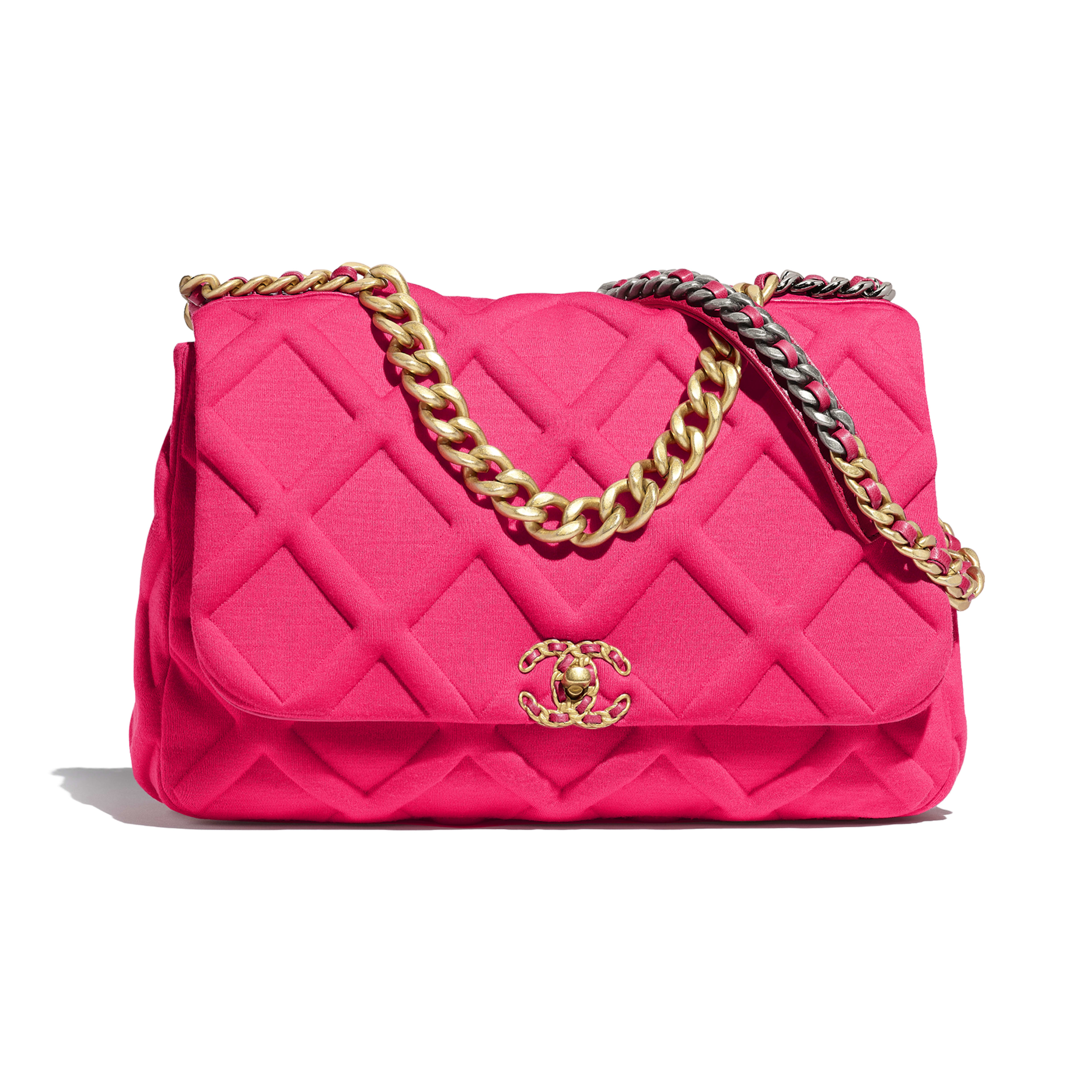 CHANEL 19 Maxi Flap Bag - Pink - Jersey, Gold-Tone, Silver-Tone & Ruthenium-Finish Metal - Default view - see full sized version