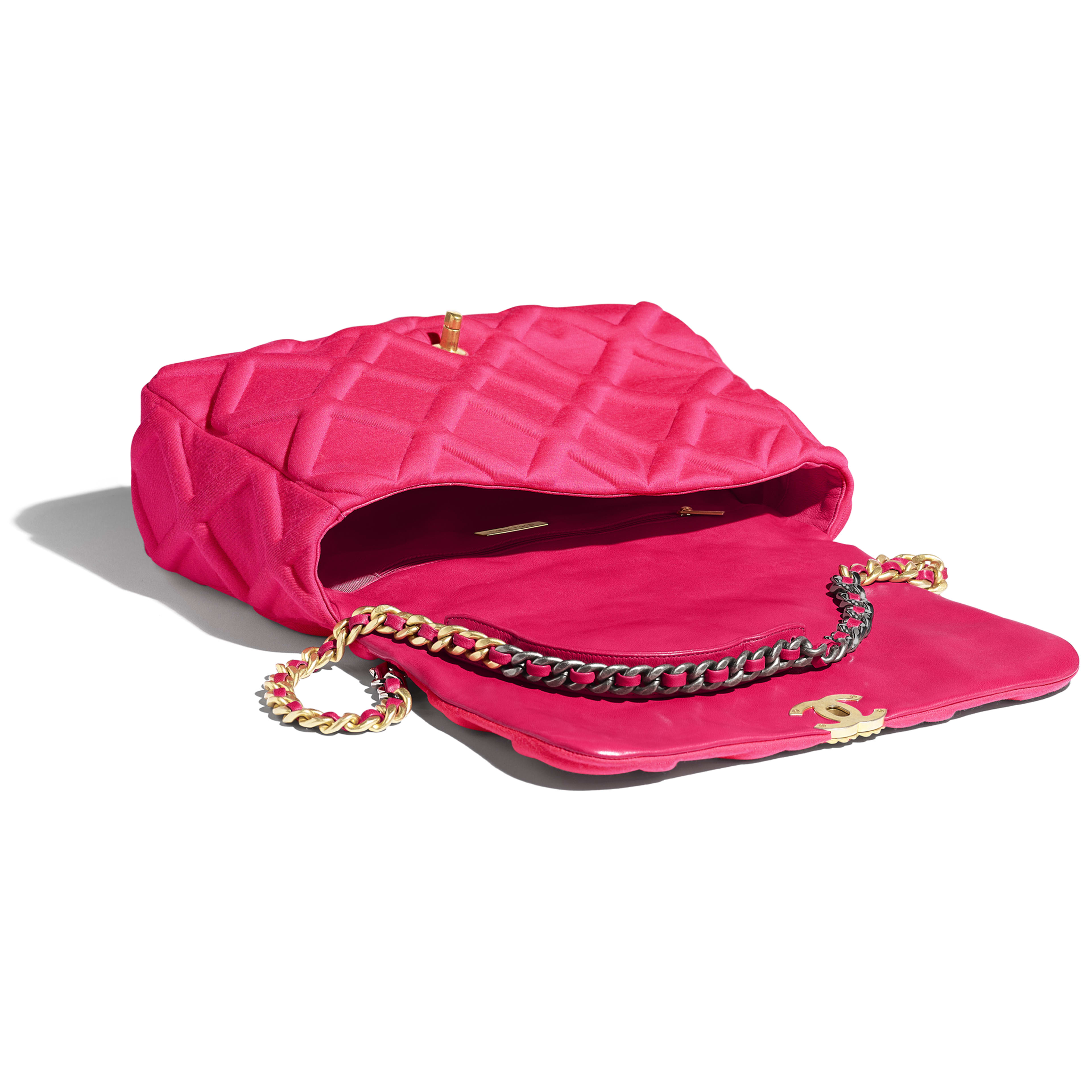 CHANEL 19 Maxi Flap Bag - Pink - Jersey, Gold-Tone, Silver-Tone & Ruthenium-Finish Metal - Other view - see full sized version