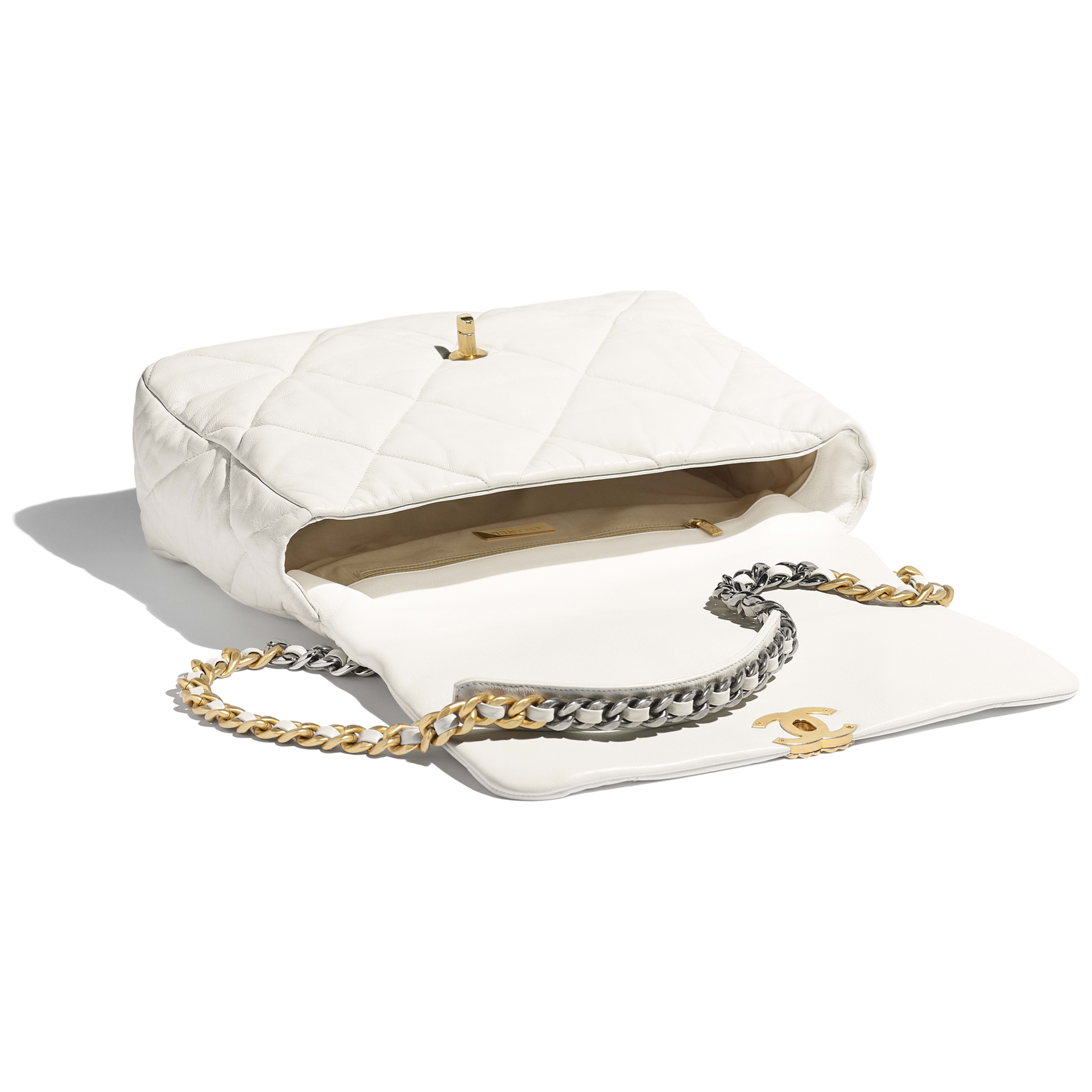 CHANEL 19 Maxi Flap Bag - White - Goatskin, Gold-Tone, Silver-Tone & Ruthenium-Finish Metal - Other view - see full sized version