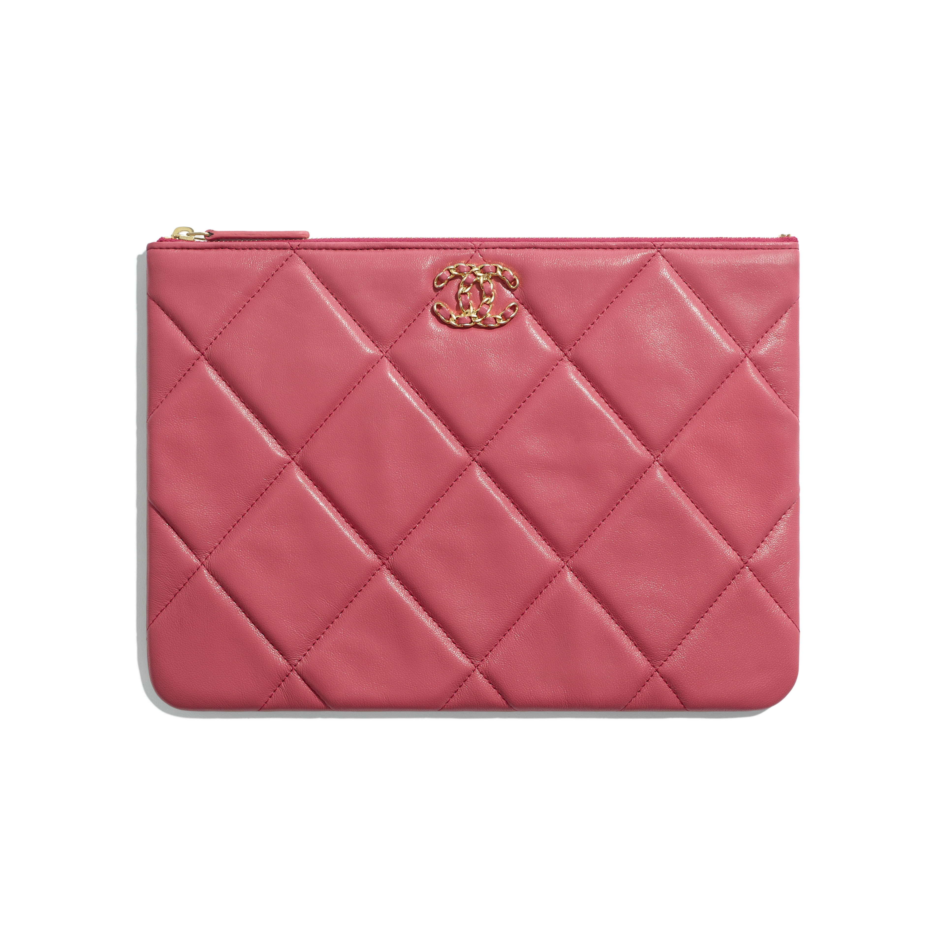 กระเป๋าเพาช์ CHANEL 19 - สีชมพู - หนังแกะ โลหะสีทอง โลหะสีเงิน และโลหะเคลือบรูทีเนียม - มุมมองปัจจุบัน - ดูเวอร์ชันขนาดเต็ม
