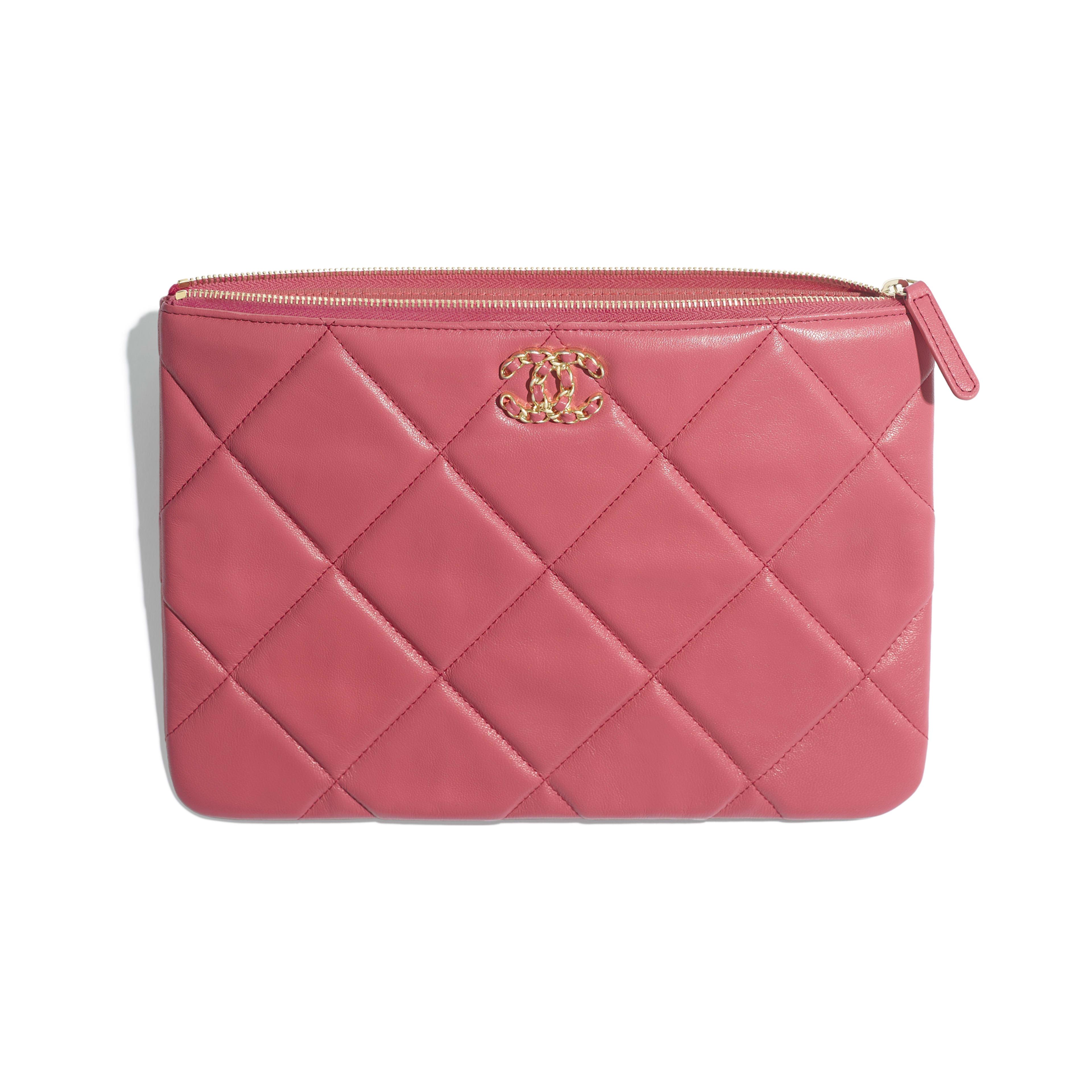 กระเป๋าเพาช์ CHANEL 19 - สีชมพู - หนังแกะ โลหะสีทอง โลหะสีเงิน และโลหะเคลือบรูทีเนียม - มุมมองอื่น - ดูเวอร์ชันขนาดเต็ม