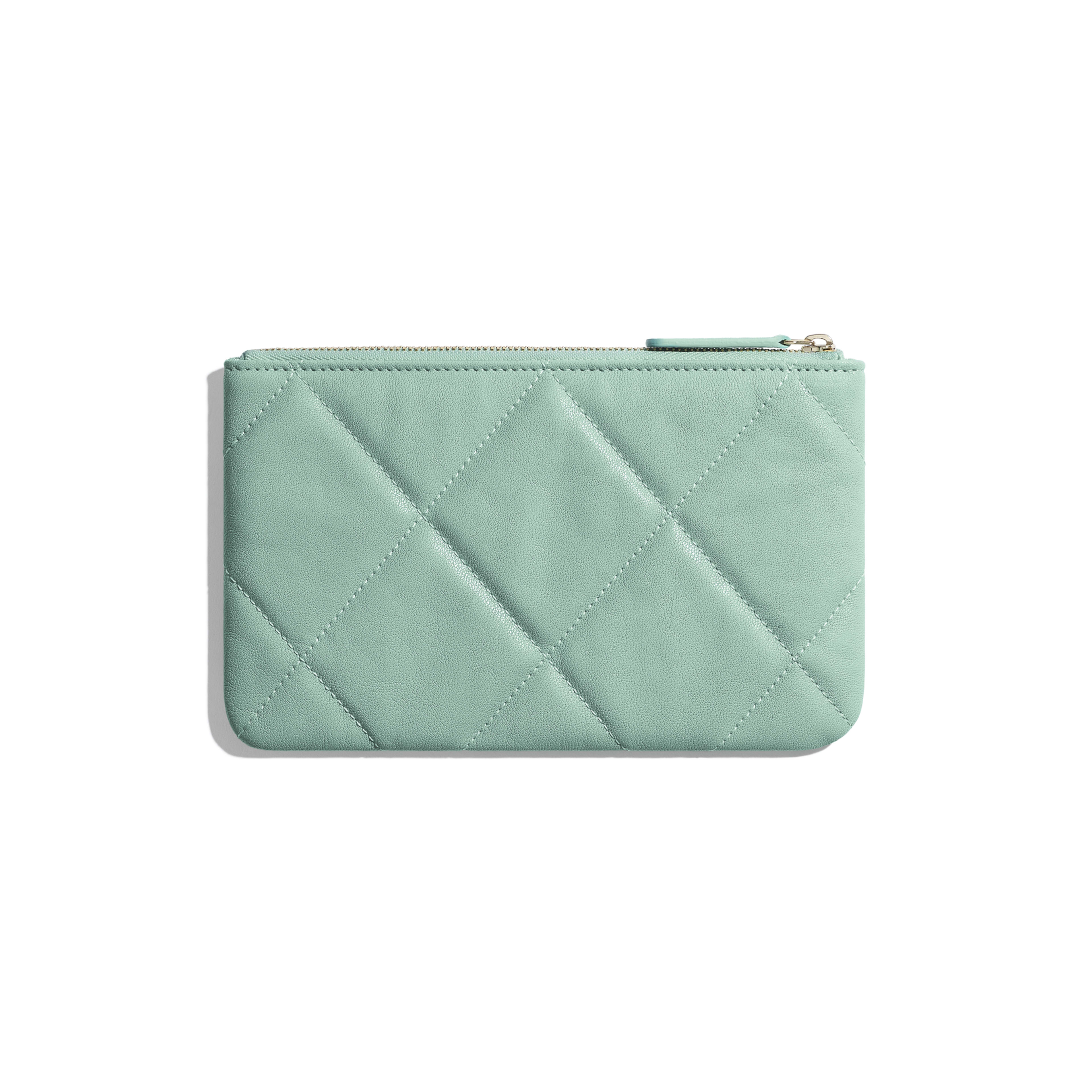 CHANEL 19 Small Pouch - Blue - Lambskin, Gold-Tone, Silver-Tone & Ruthenium-Finish Metal - Alternative view - see full sized version