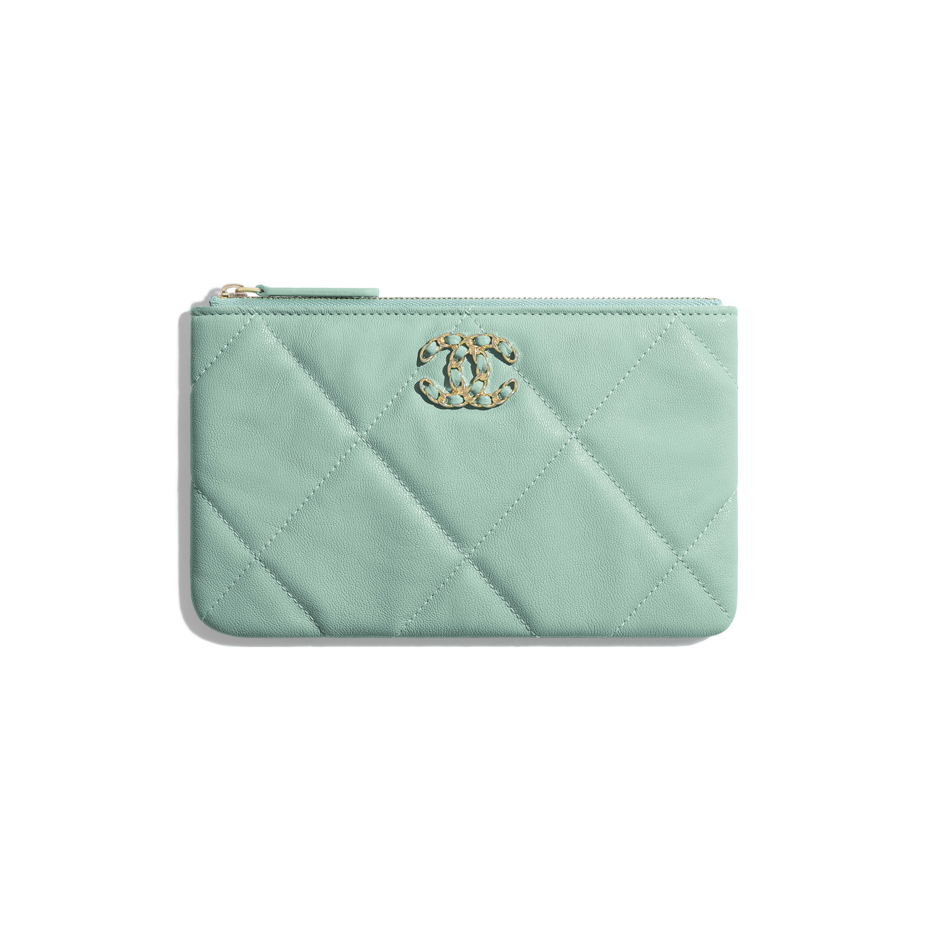 CHANEL 19 Small Pouch - Blue - Lambskin, Gold-Tone, Silver-Tone & Ruthenium-Finish Metal - Default view - see full sized version