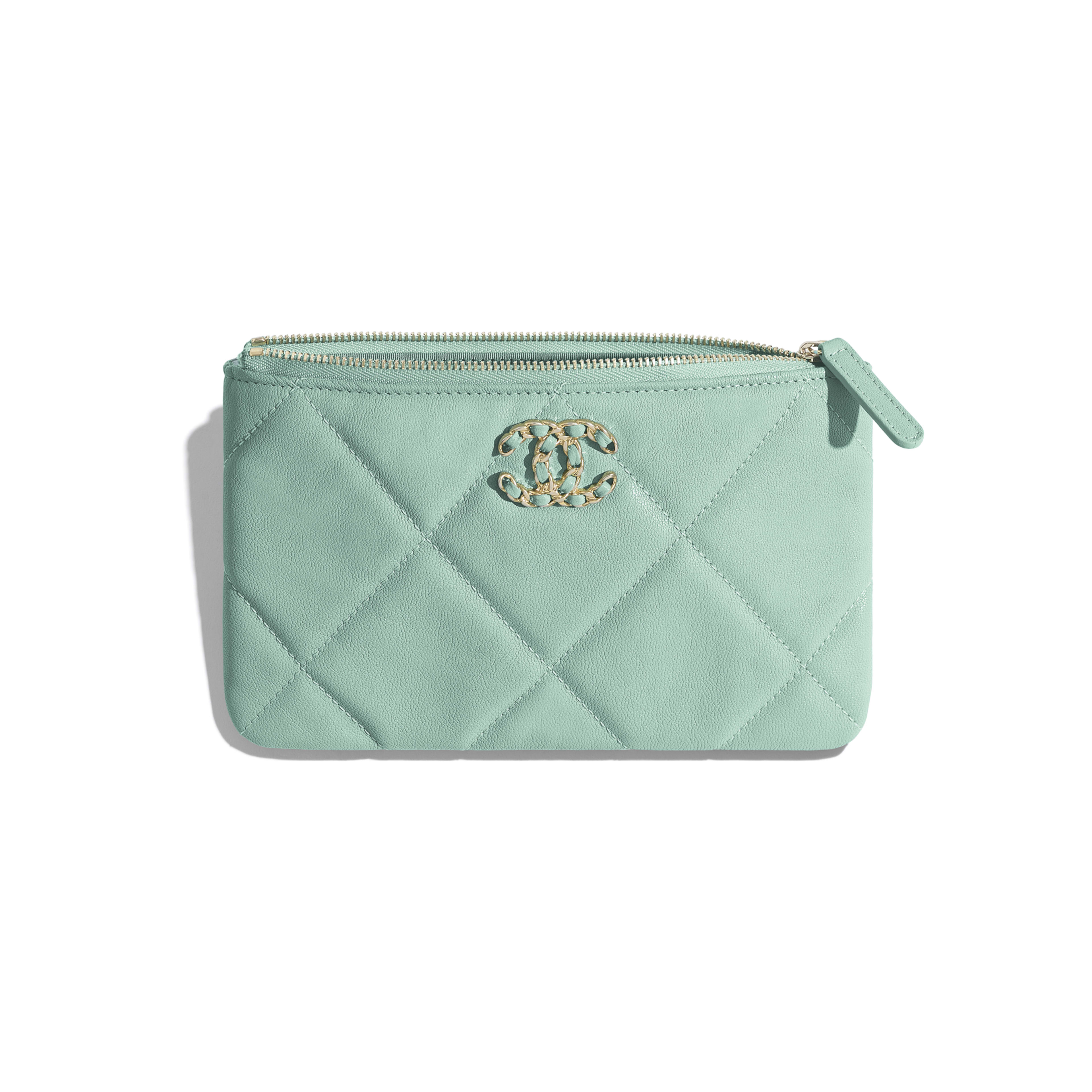 CHANEL 19 Small Pouch - Blue - Lambskin, Gold-Tone, Silver-Tone & Ruthenium-Finish Metal - Other view - see full sized version