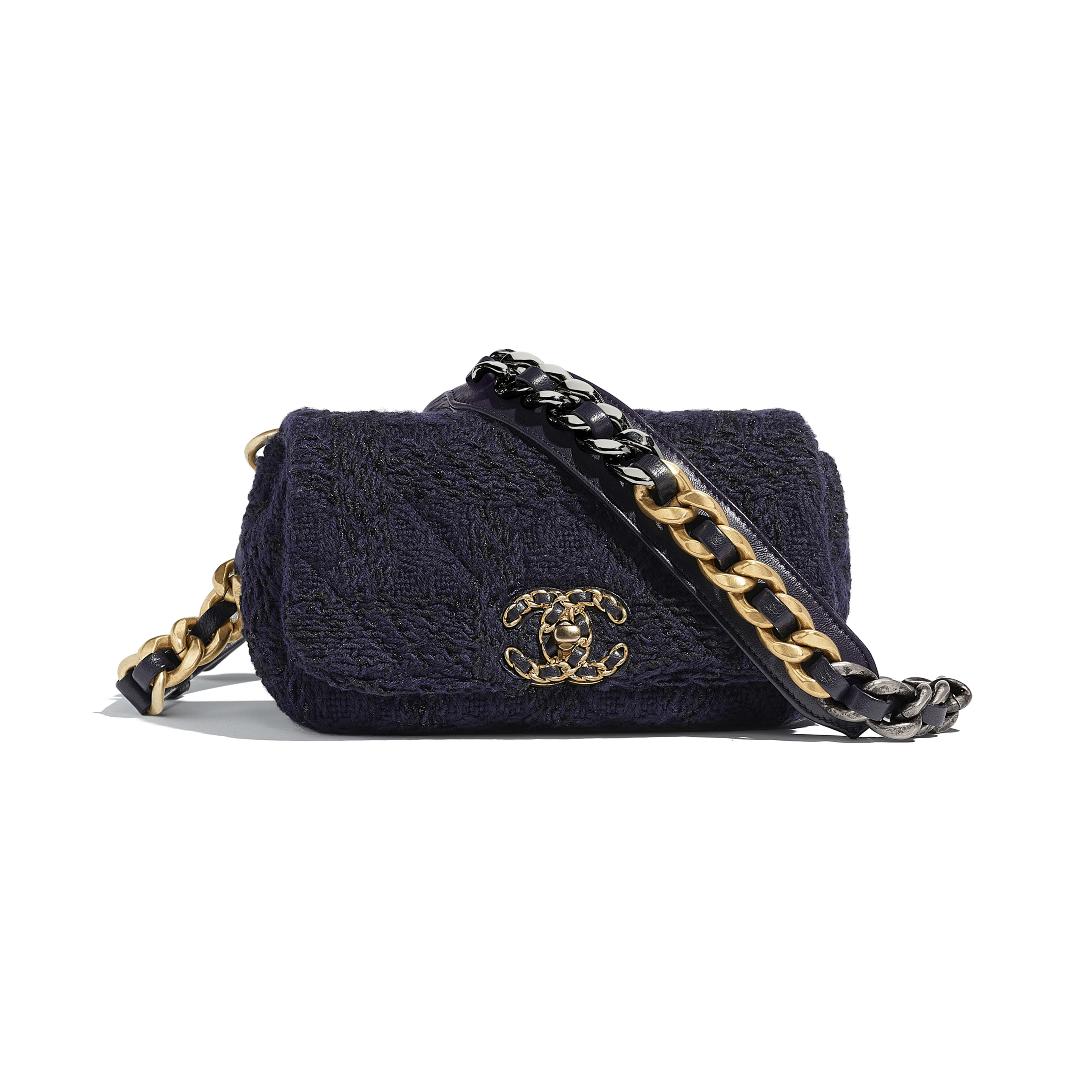 CHANEL 19 Waist Bag - Navy Blue & Black - Wool Tweed, Gold-Tone, Silver-Tone & Ruthenium-Finish Metal - Default view - see full sized version