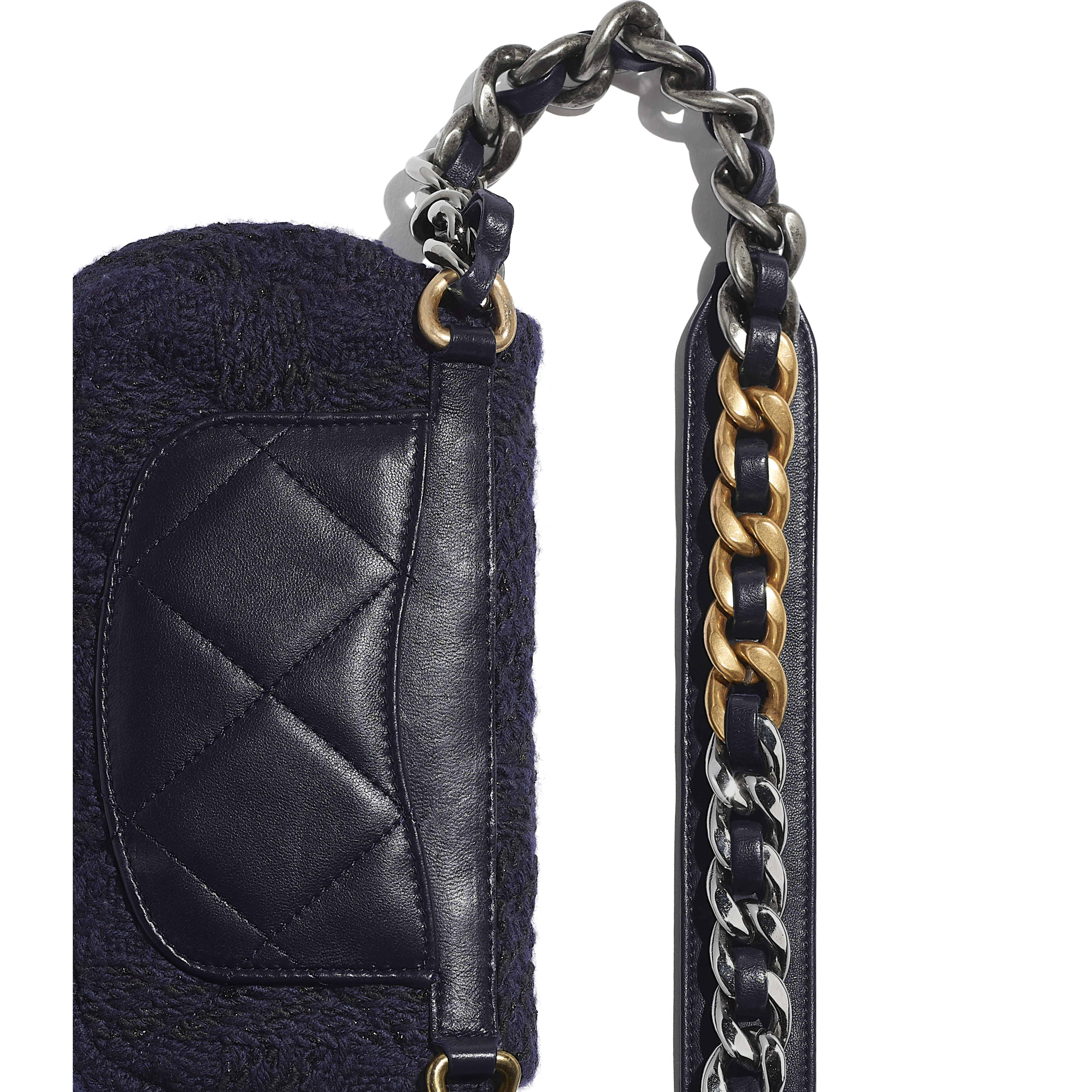 CHANEL 19 Waist Bag - Navy Blue & Black - Wool Tweed, Gold-Tone, Silver-Tone & Ruthenium-Finish Metal - Extra view - see full sized version