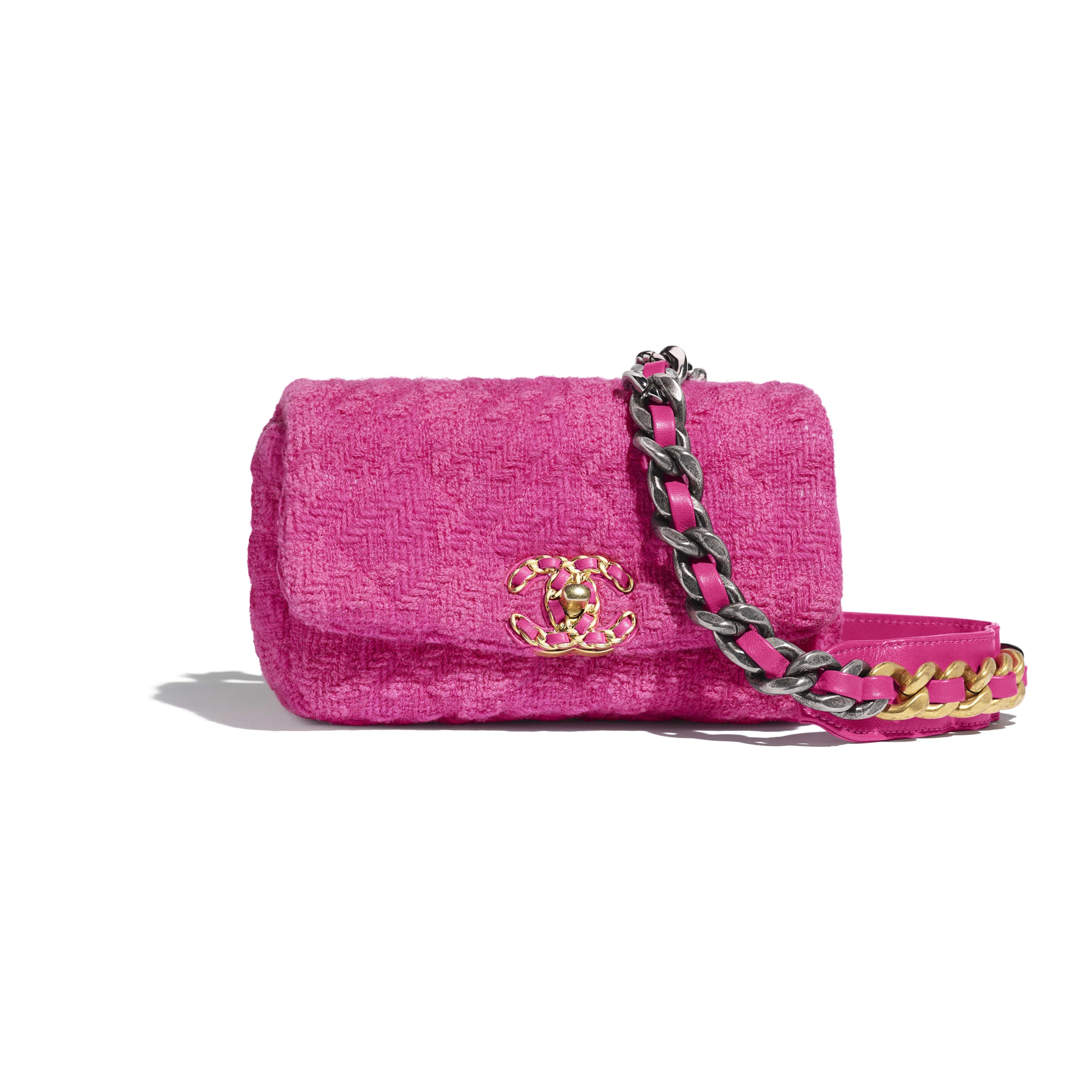 CHANEL 19 Waist Bag - Pink - Wool Tweed, Gold-Tone, Silver-Tone & Ruthenium-Finish Metal - Default view - see full sized version