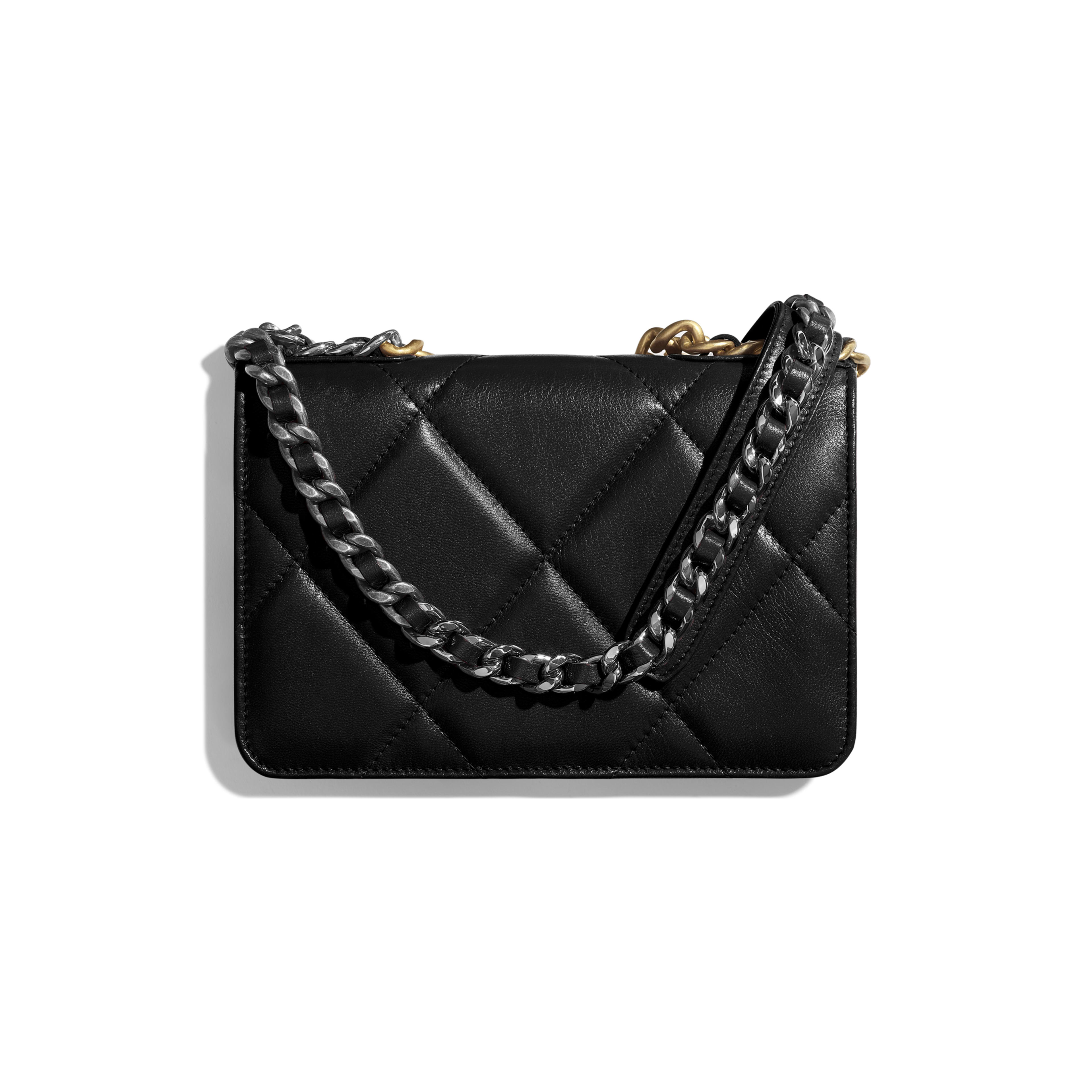 CHANEL 19 Wallet on Chain - Black - Goatskin, Gold-Tone, Silver-Tone & Ruthenium-Finish Metal - Alternative view - see full sized version