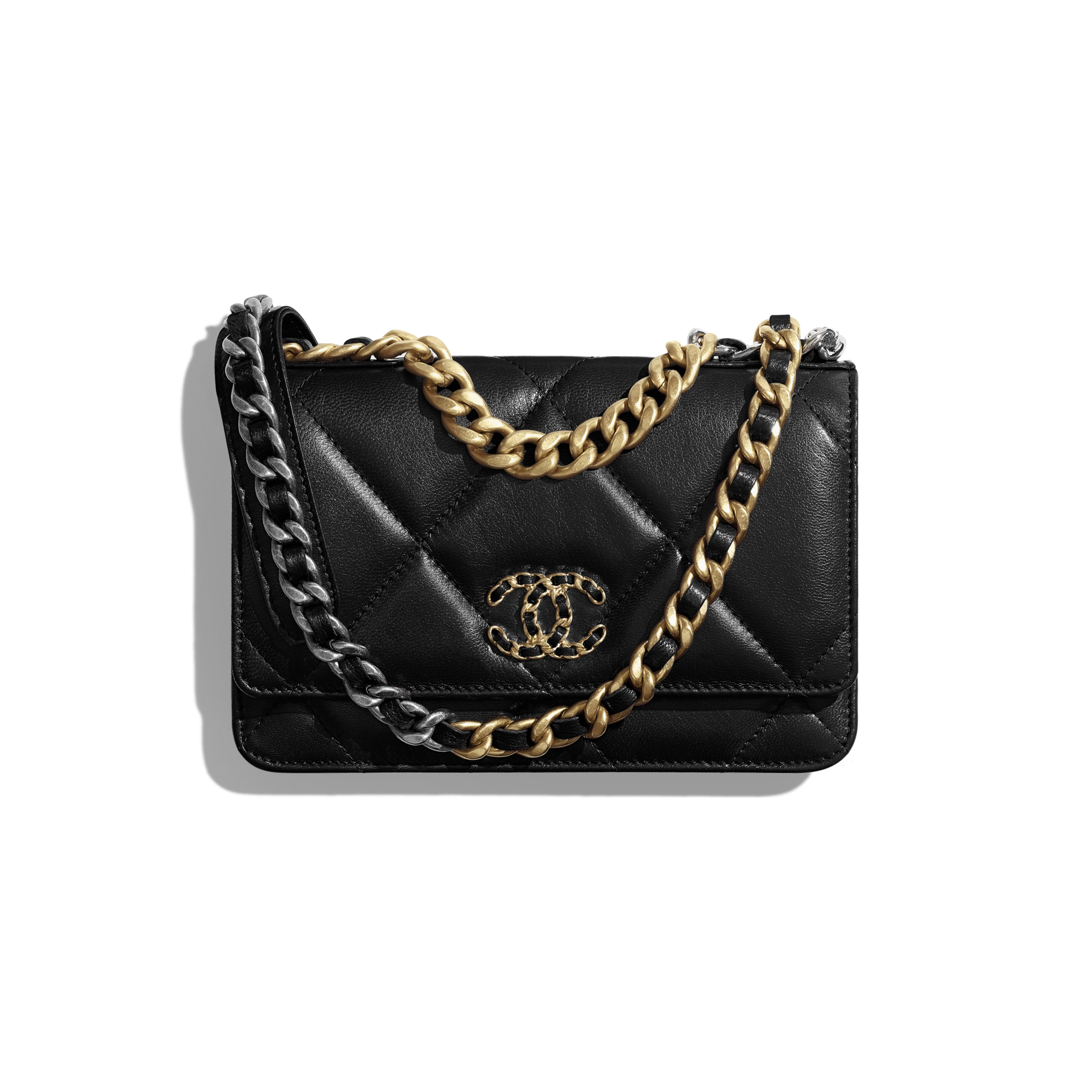 CHANEL 19 Wallet on Chain - Black - Goatskin, Gold-Tone, Silver-Tone & Ruthenium-Finish Metal - Default view - see full sized version