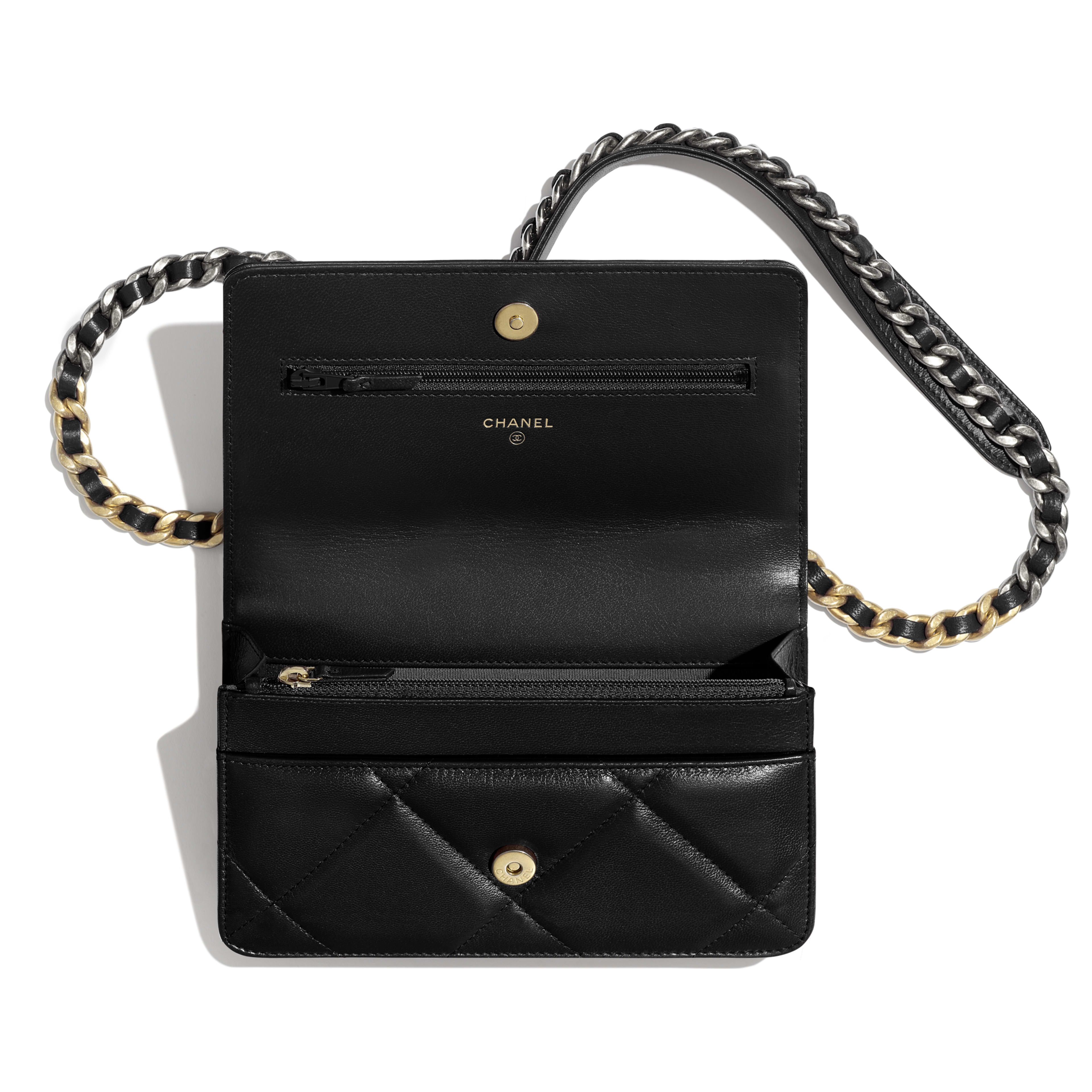 CHANEL 19 Wallet on Chain - Black - Goatskin, Gold-Tone, Silver-Tone & Ruthenium-Finish Metal - Other view - see full sized version