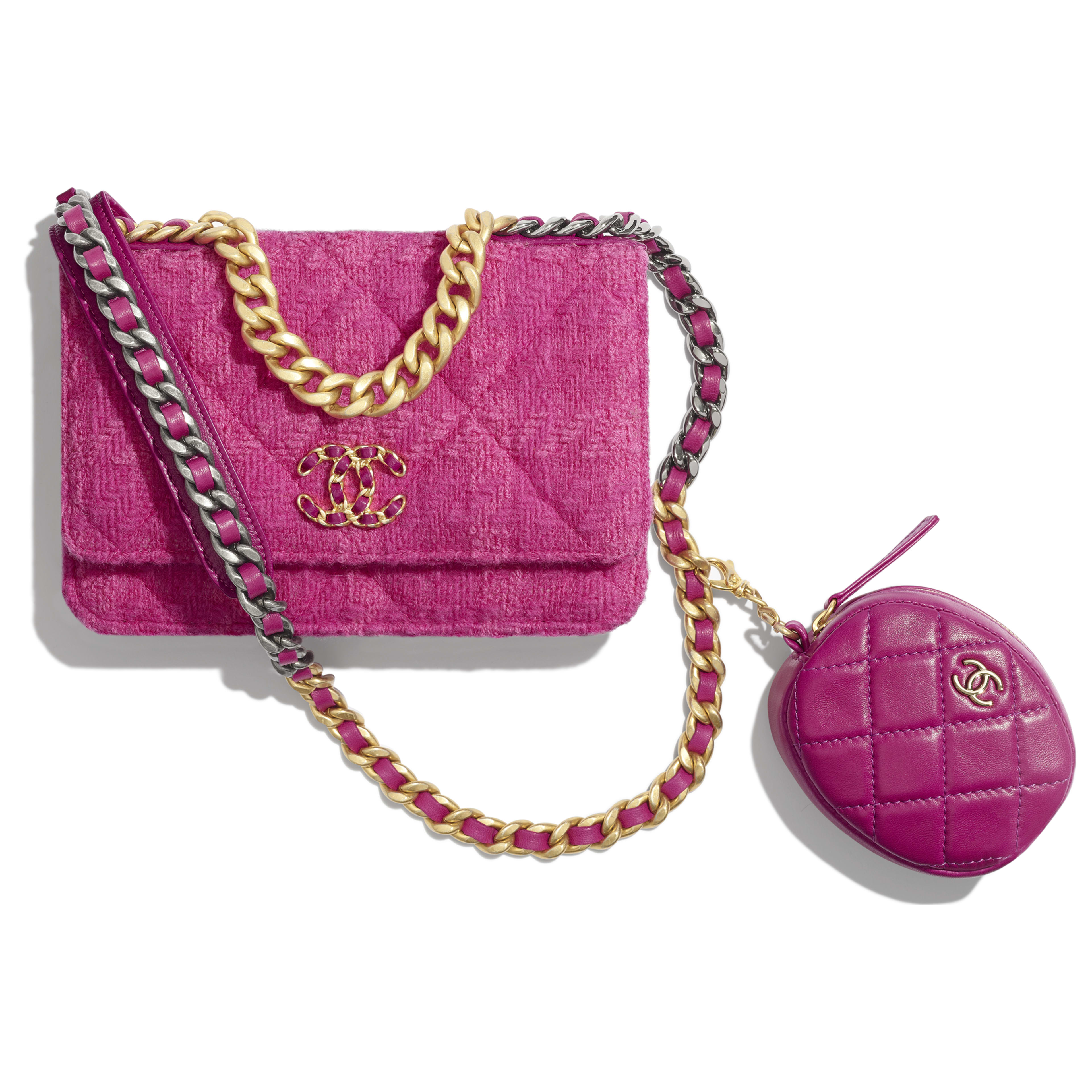 CHANEL 19 Wallet on Chain & Coin Purse - Fuchsia - Wool Tweed, Lambskin, Gold-Tone, Silver-Tone & Ruthenium-Finish Metal - Default view - see full sized version