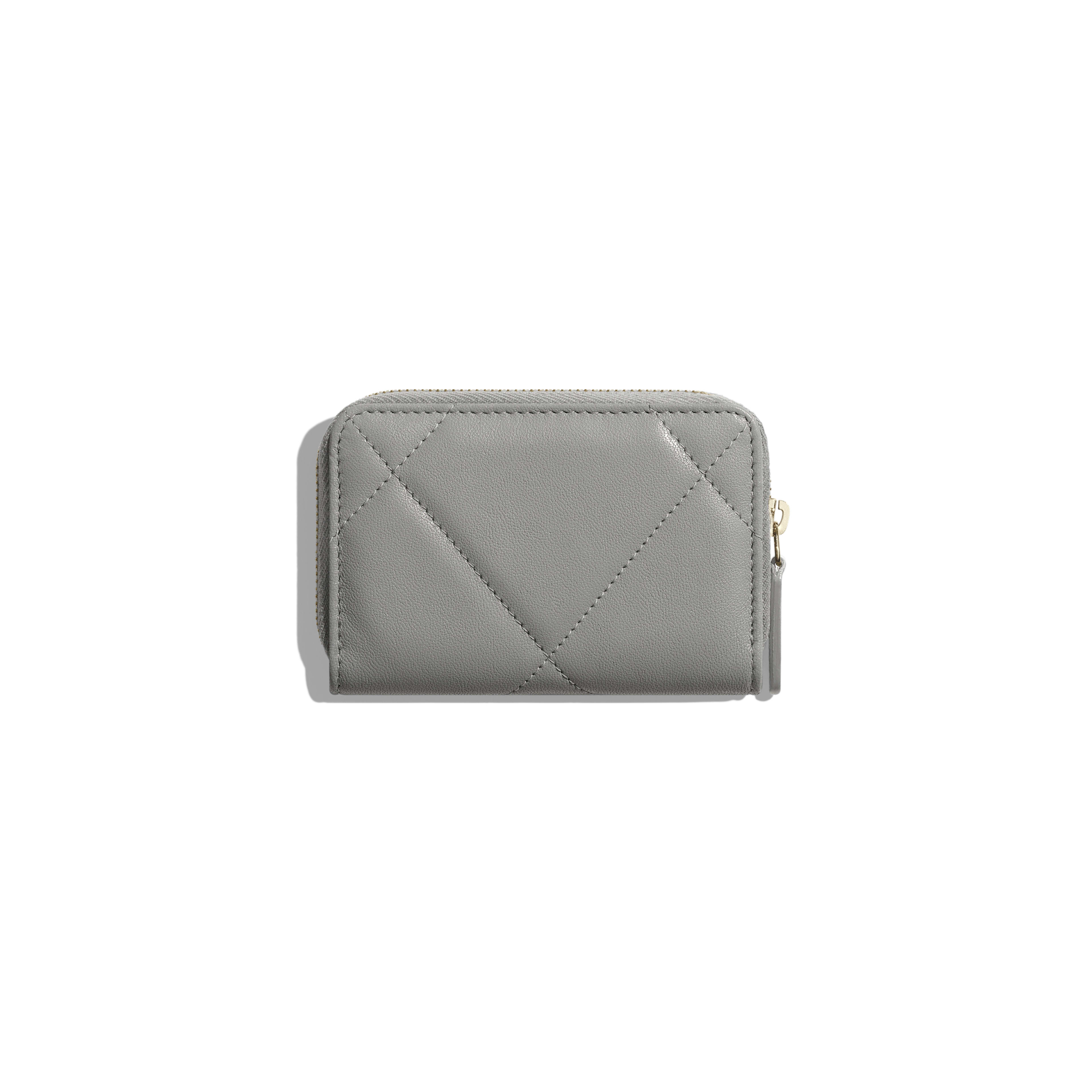 CHANEL 19 Zipped Coin Purse - Grey - Lambskin, Gold-Tone, Silver-Tone & Ruthenium-Finish Metal - Alternative view - see full sized version