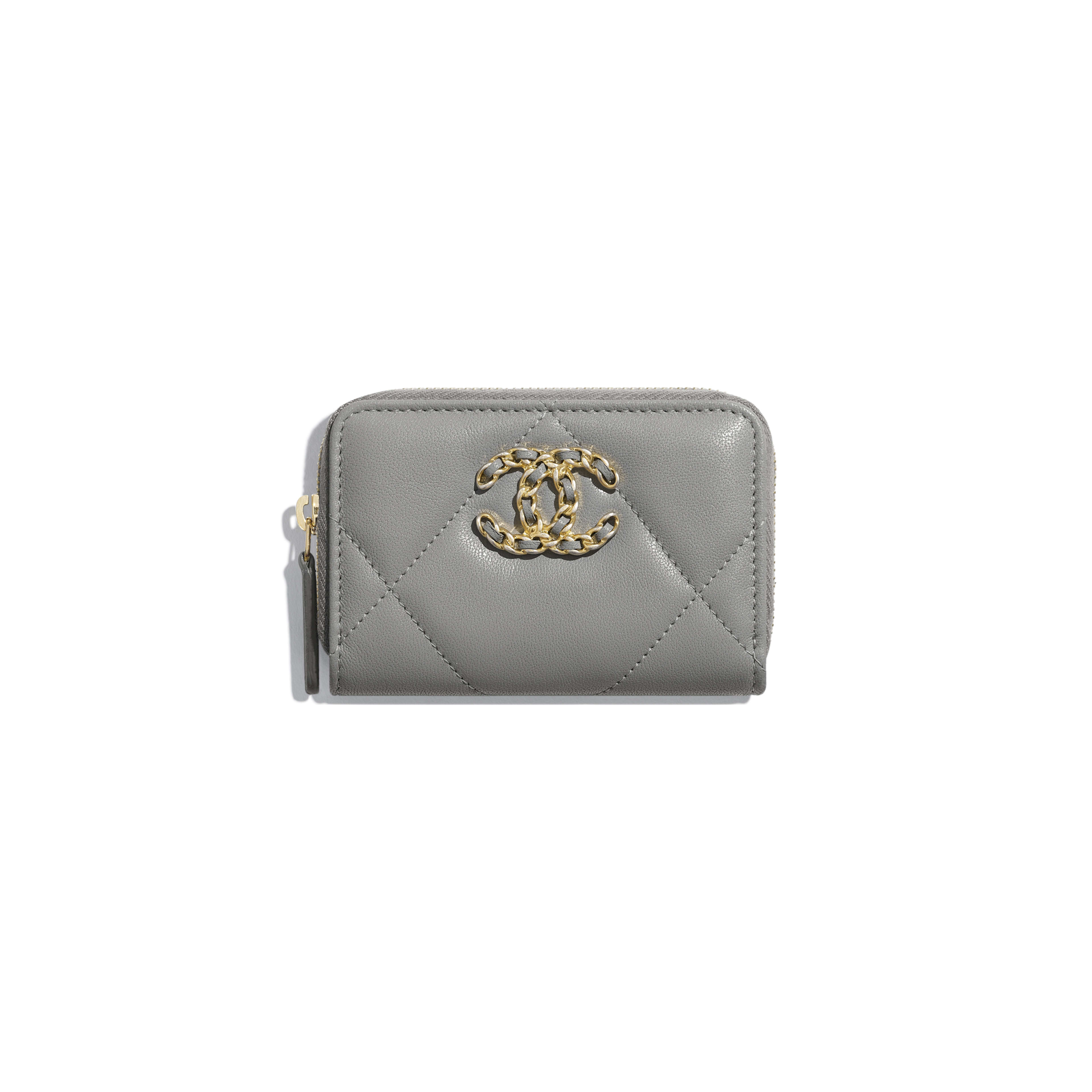 CHANEL 19 Zipped Coin Purse - Grey - Lambskin, Gold-Tone, Silver-Tone & Ruthenium-Finish Metal - Default view - see full sized version