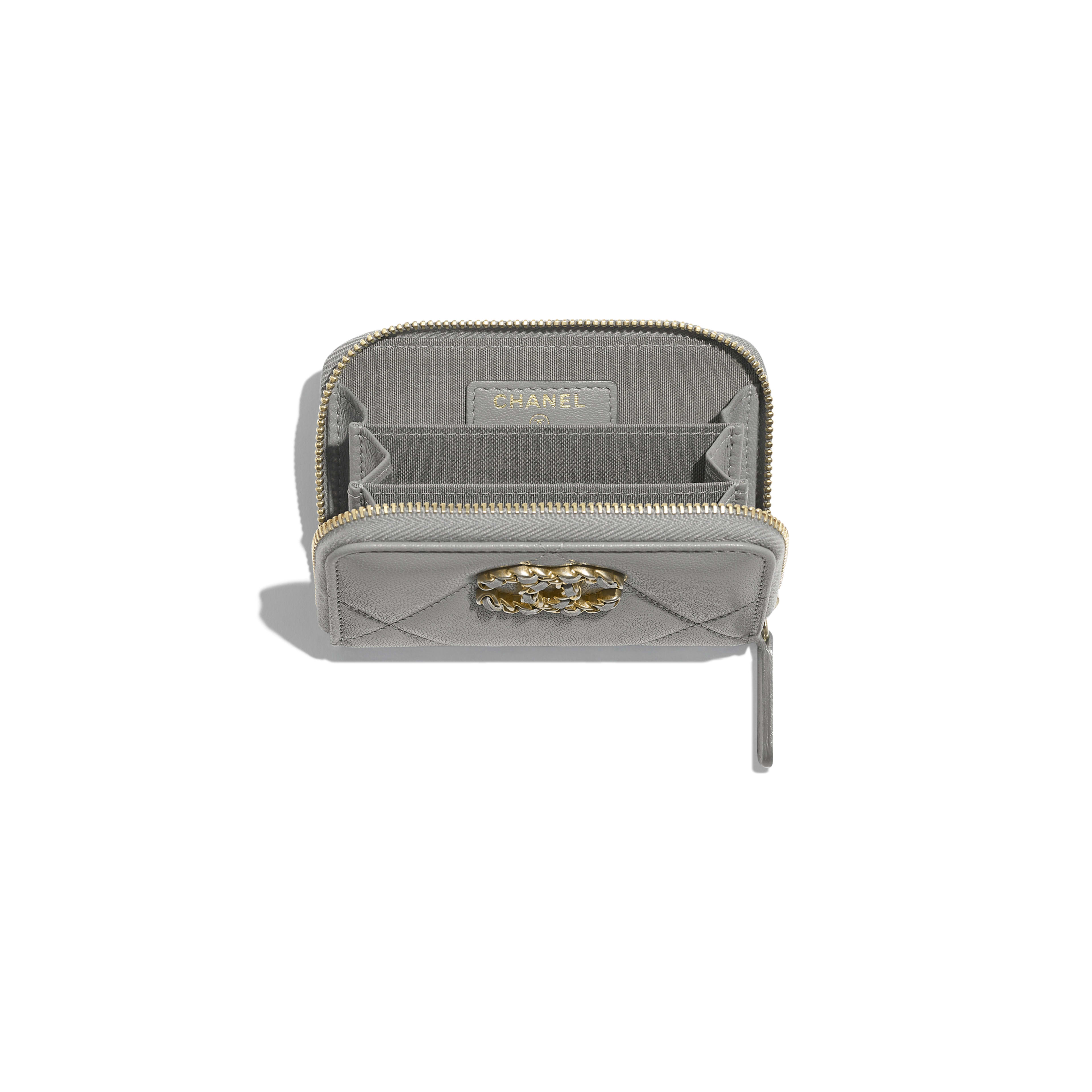 CHANEL 19 Zipped Coin Purse - Grey - Lambskin, Gold-Tone, Silver-Tone & Ruthenium-Finish Metal - Other view - see full sized version
