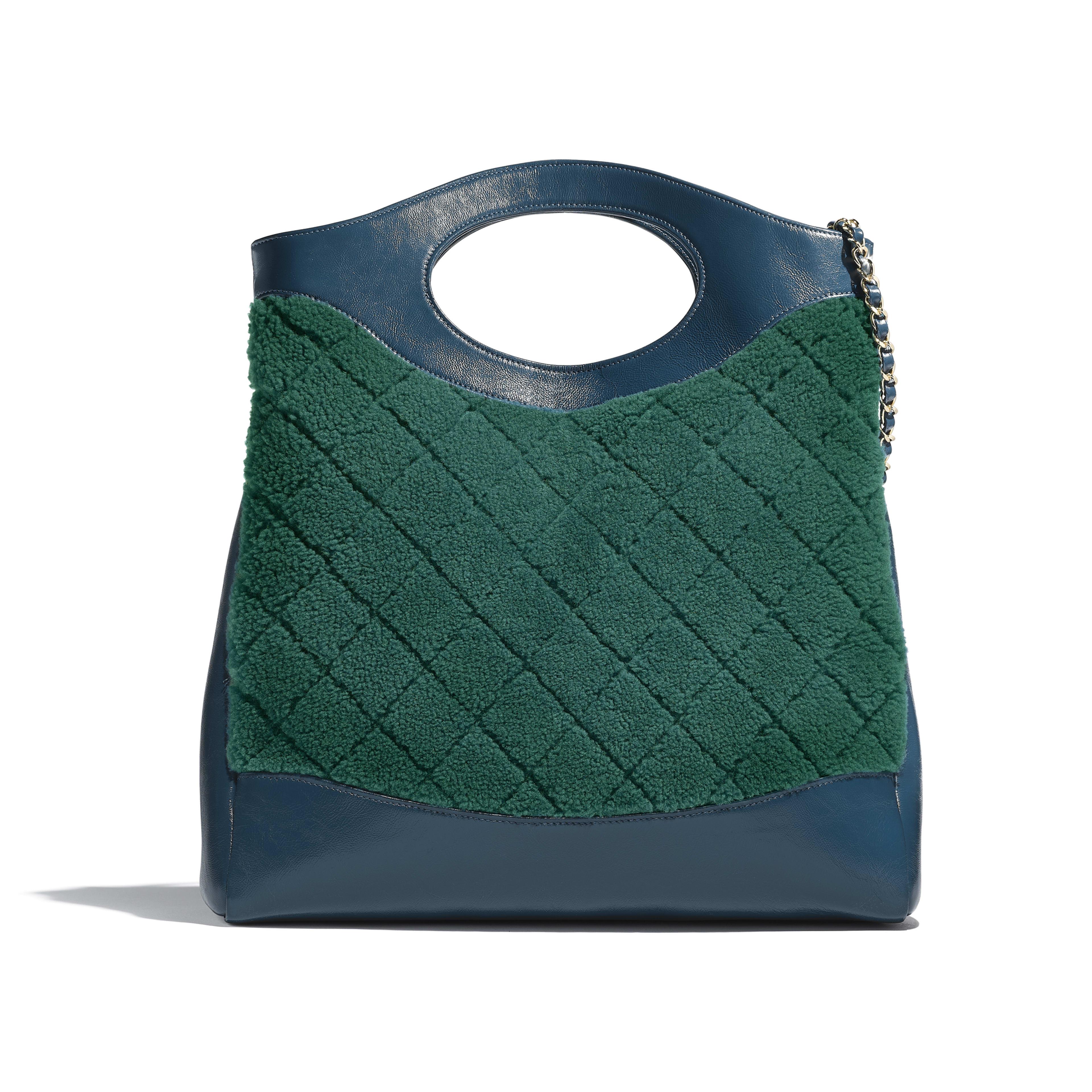 CHANEL 31 Shopping Bag - Green & Blue - Shearling Sheepskin, Calfskin & Gold-Tone Metal - Alternative view - see full sized version