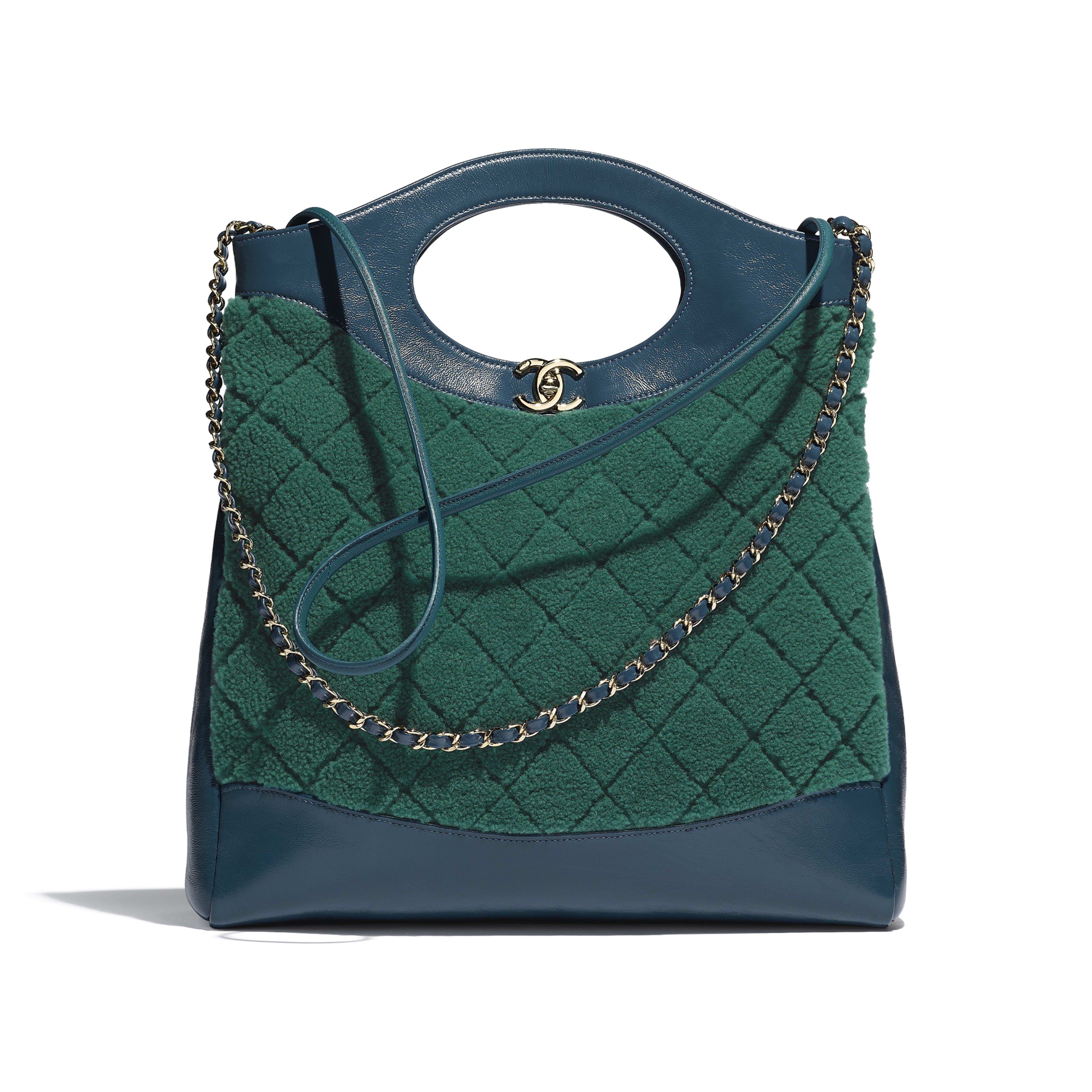 CHANEL 31 Shopping Bag - Green & Blue - Shearling Sheepskin, Calfskin & Gold-Tone Metal - Default view - see full sized version