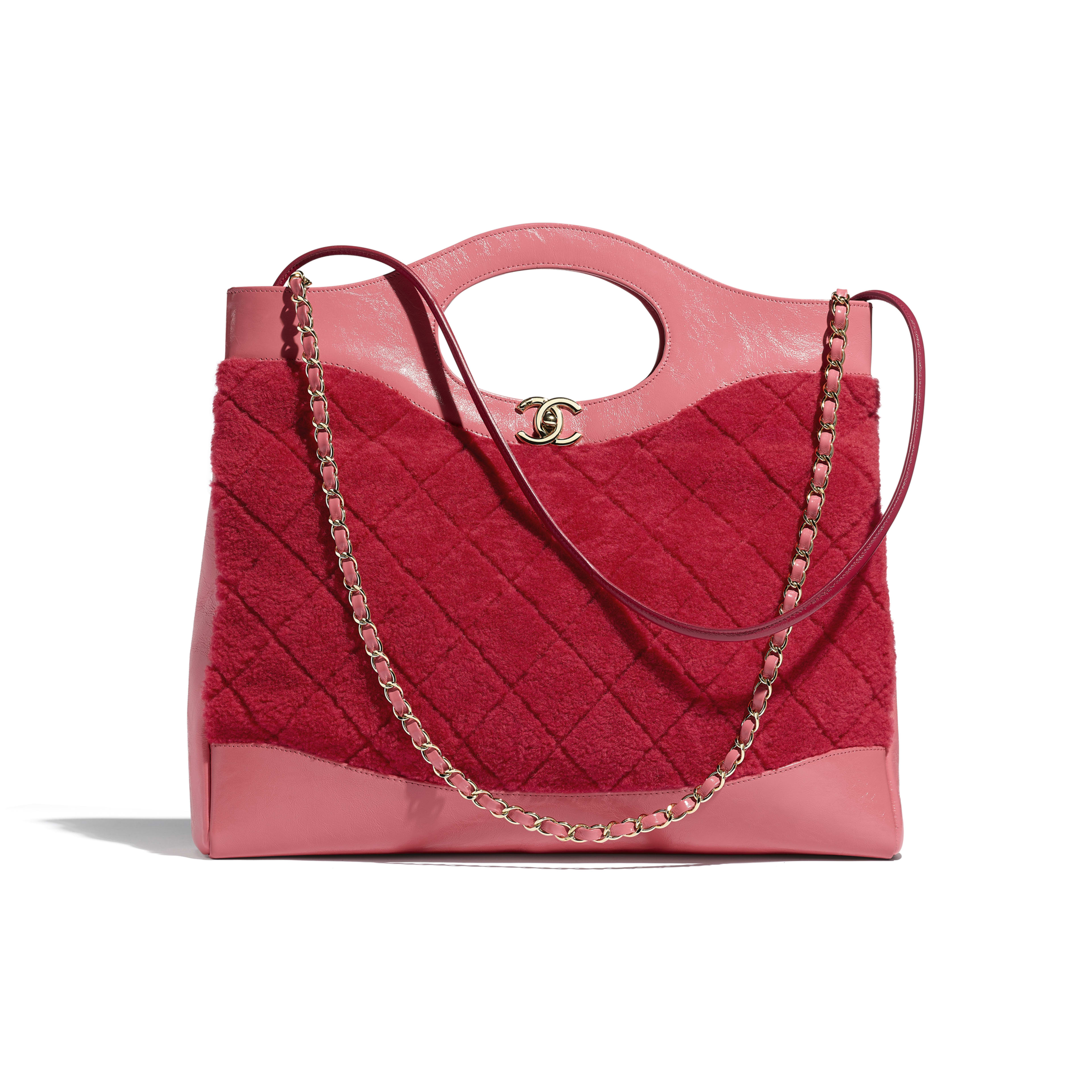 CHANEL 31 Shopping Bag - Red & Pink - Shearling Sheepskin, Calfskin & Gold-Tone Metal - Default view - see full sized version