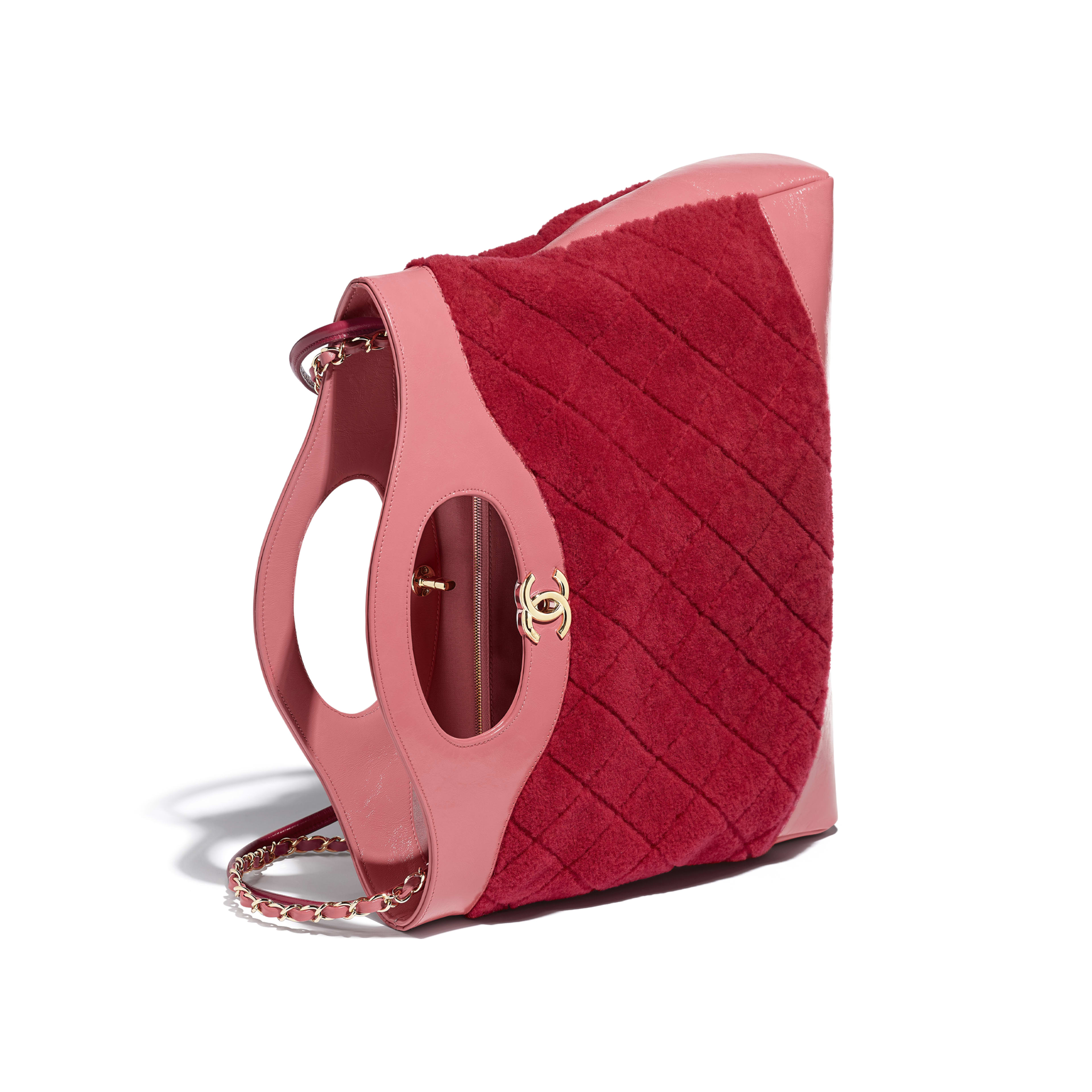 CHANEL 31 Shopping Bag - Red & Pink - Shearling Sheepskin, Calfskin & Gold-Tone Metal - Other view - see full sized version