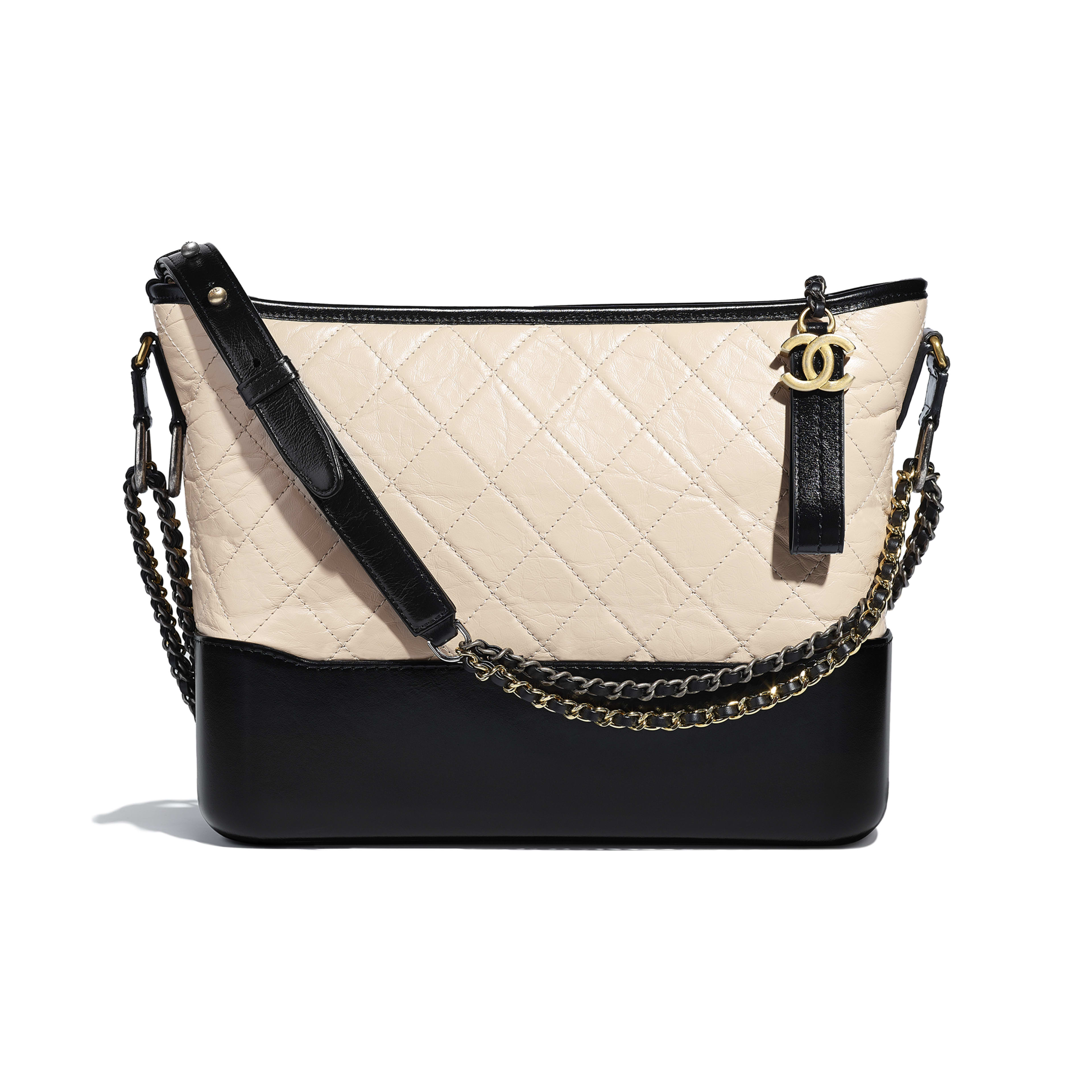 CHANEL'S GABRIELLE Large Hobo Bag - Beige & Black - Aged Calfskin, Smooth Calfskin, Silver-Tone & Gold-Tone Metal - Default view - see full sized version