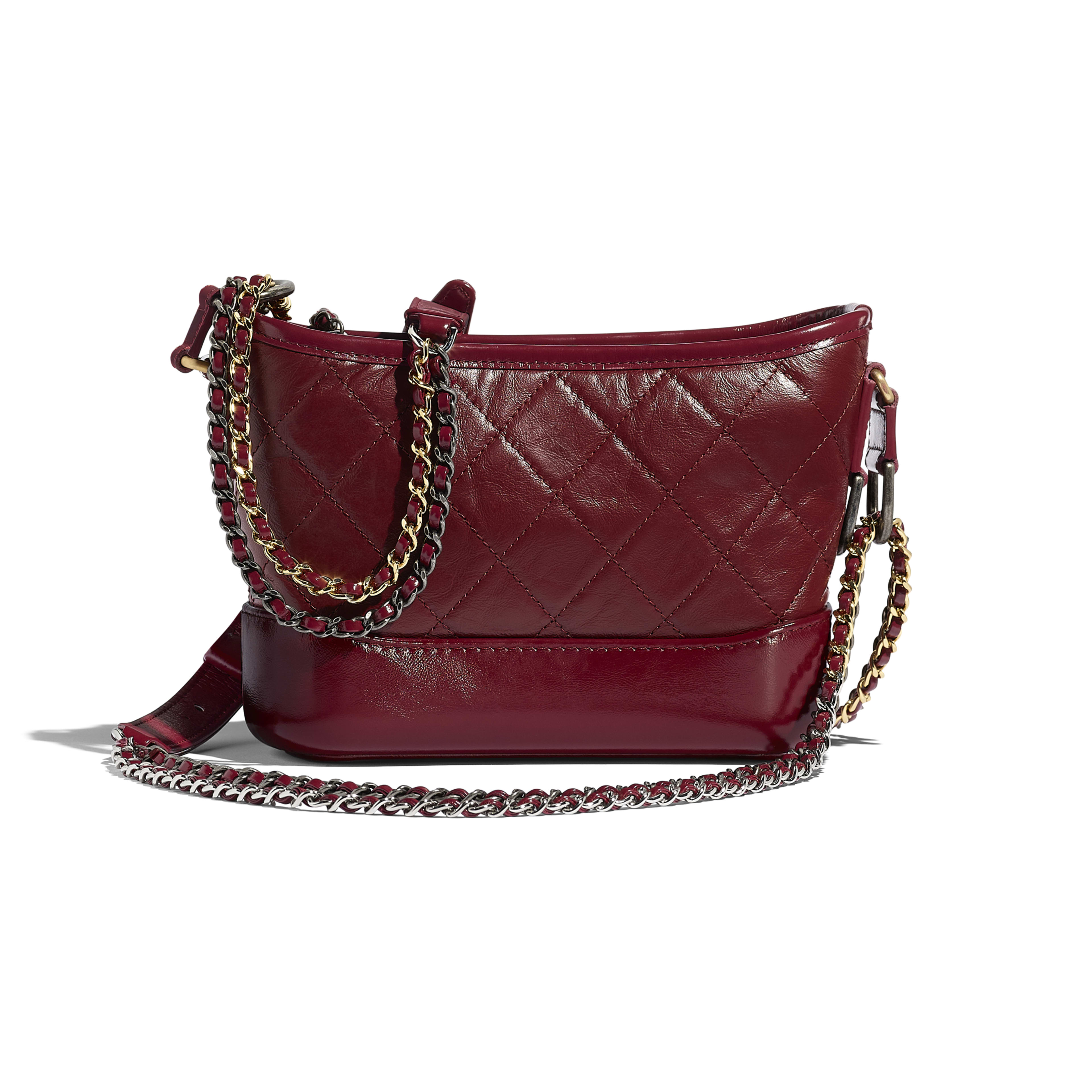 Aged Calfskin Smooth Silver Tone Gold Metal Burgundy Chanel S Gabrielle Small Hobo Bag