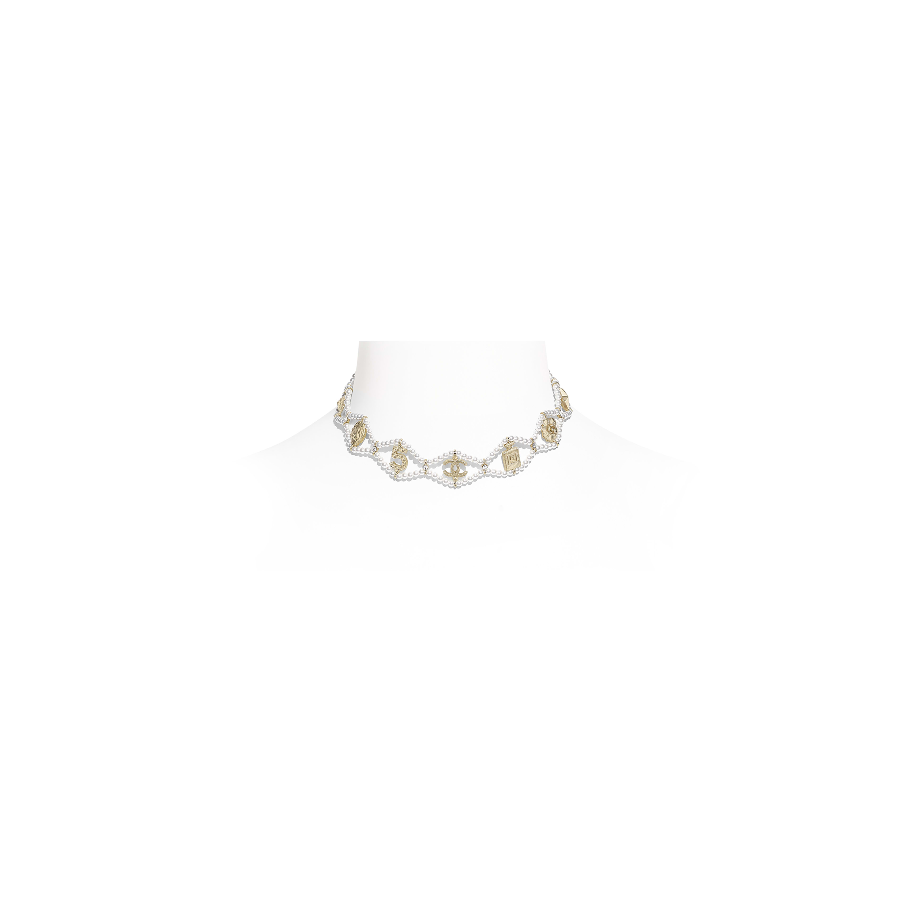 Choker - Gold, Pearly White & Crystal - Metal, Glass Pearls & Diamantés - Default view - see full sized version