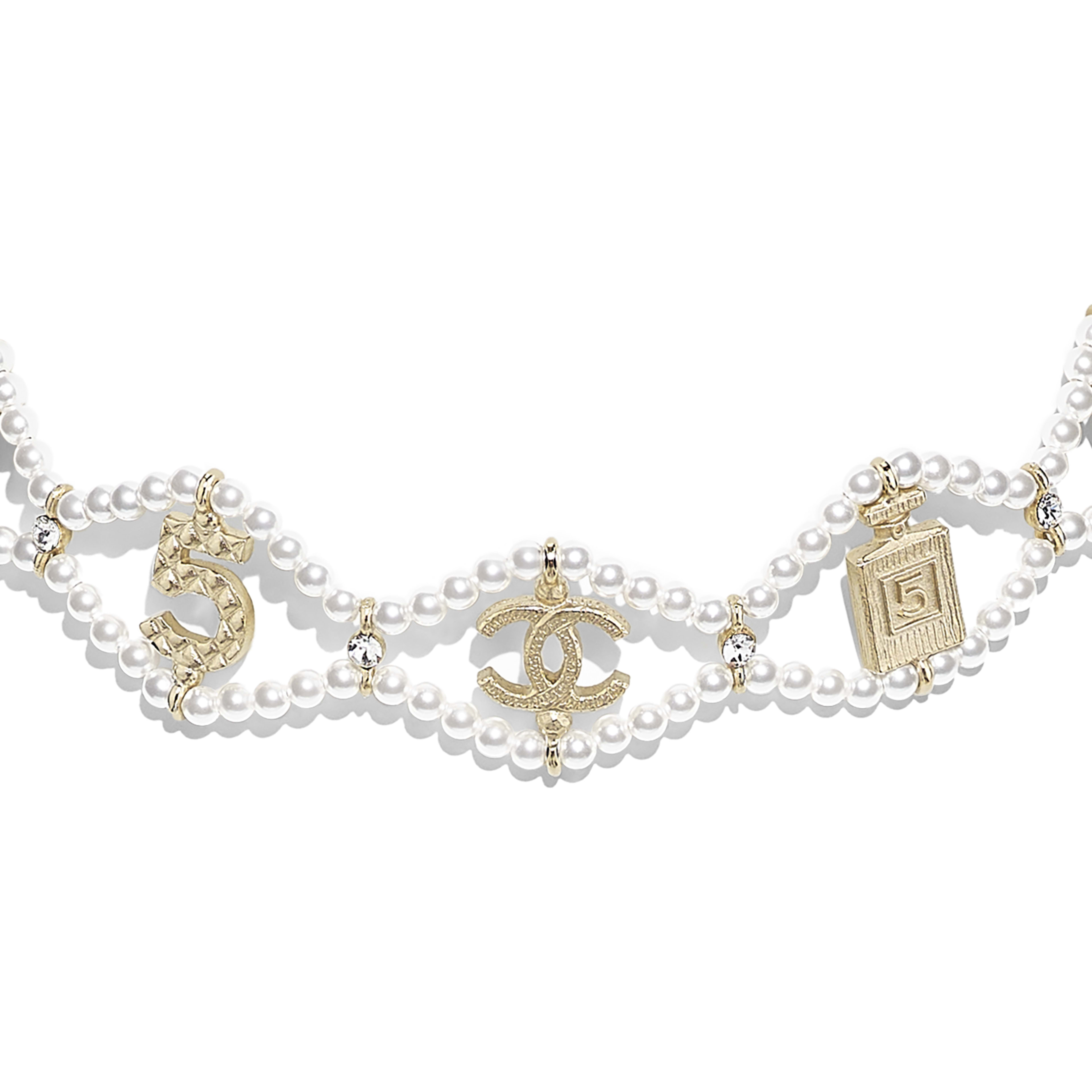 Choker - Gold, Pearly White & Crystal - Metal, Glass Pearls & Diamantés - Other view - see full sized version