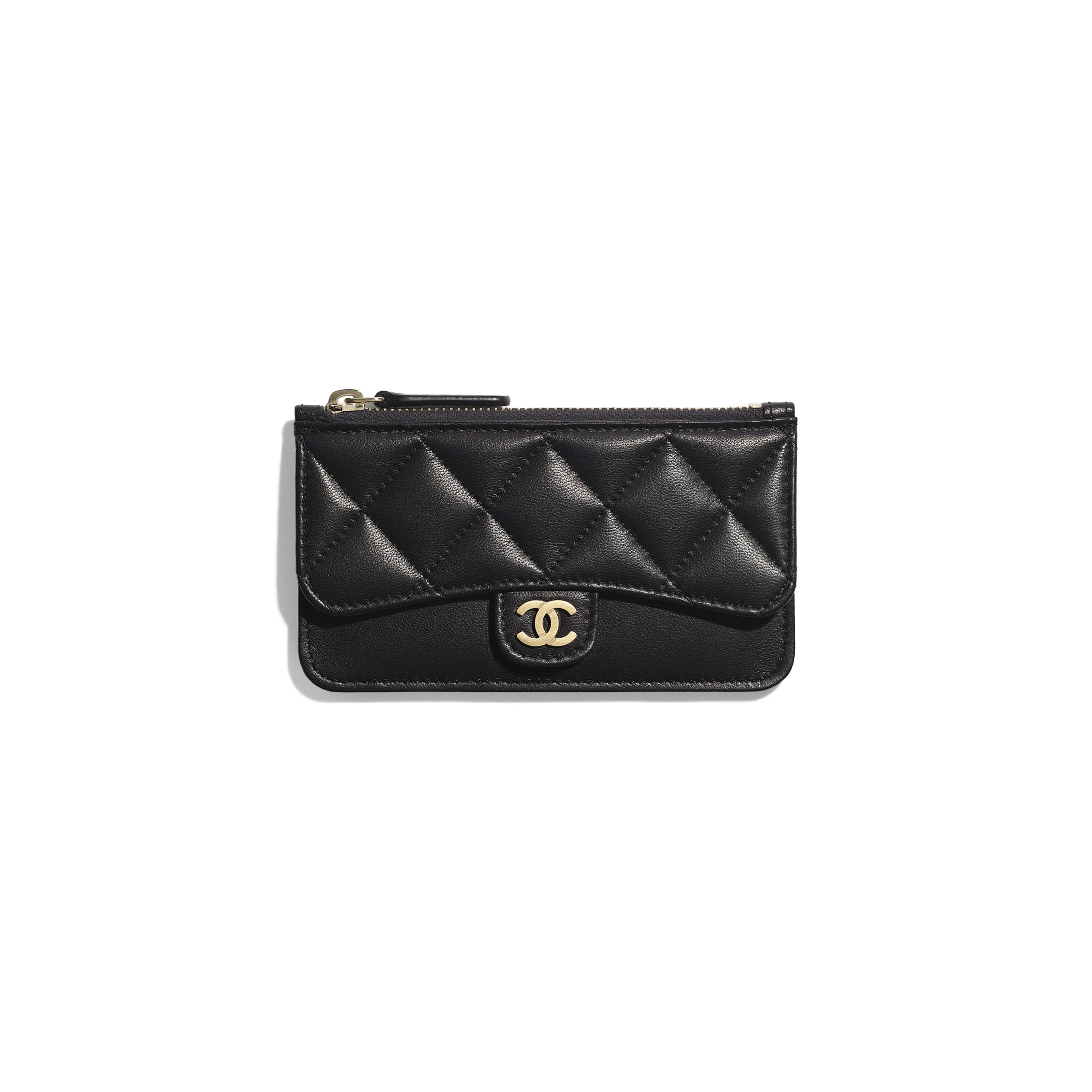 Classic Card Holder - Black - Lambskin & Gold-Tone Metal - Default view - see full sized version