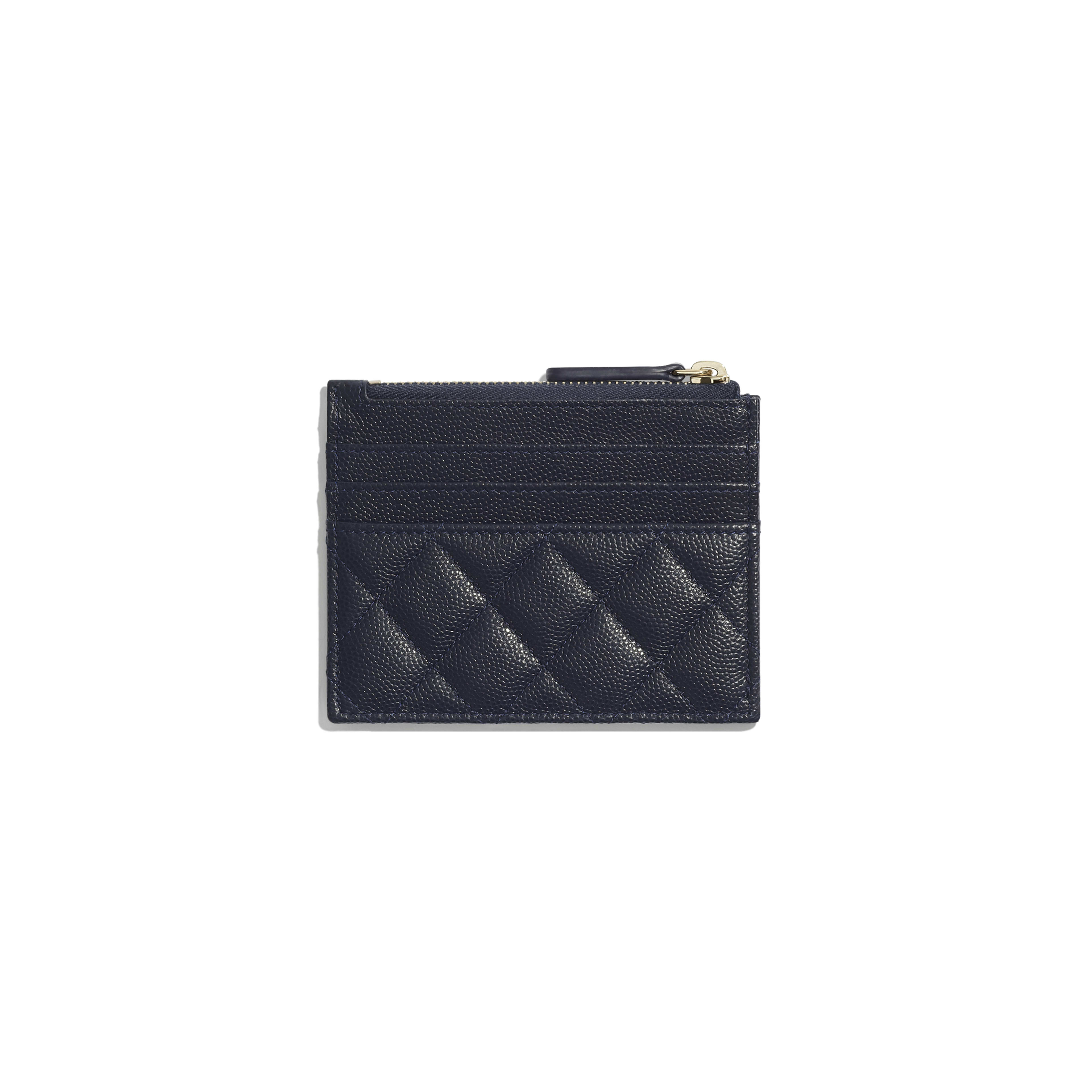Classic Card Holder - Navy Blue - Grained Calfskin & Gold-Tone Metal - Alternative view - see full sized version