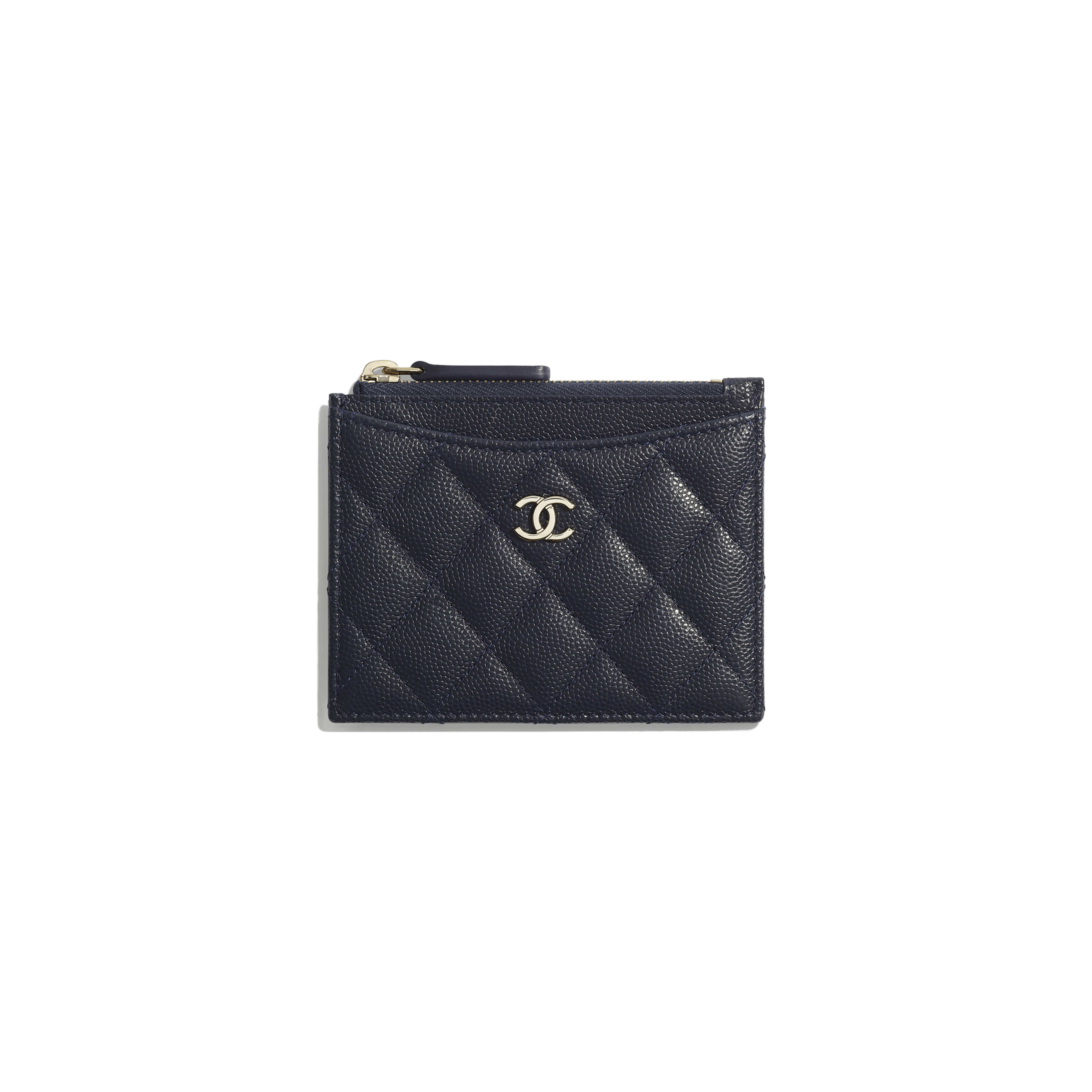 Classic Card Holder - Navy Blue - Grained Calfskin & Gold-Tone Metal - Default view - see full sized version